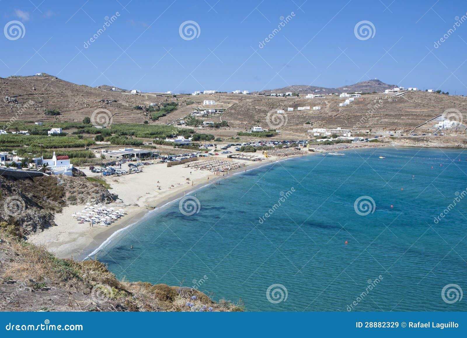 Kalo Livadi Beach In Mykonos Island Royalty Free Stock ...
