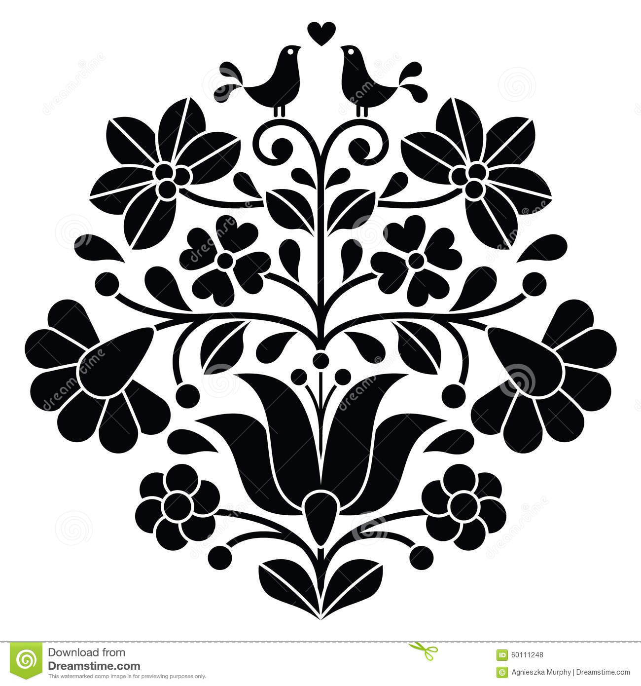 Kalocsai Black Embroidery - Hungarian Floral Folk Pattern With Birds ...