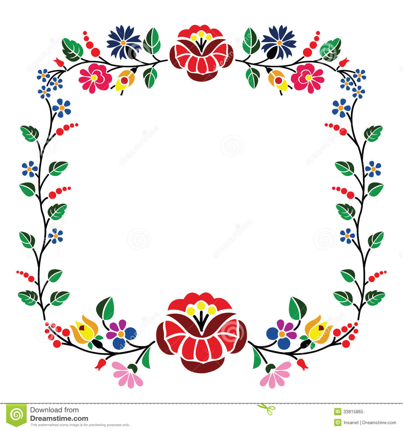 Kalocsai pattern stock vector. Image of flower, isolated