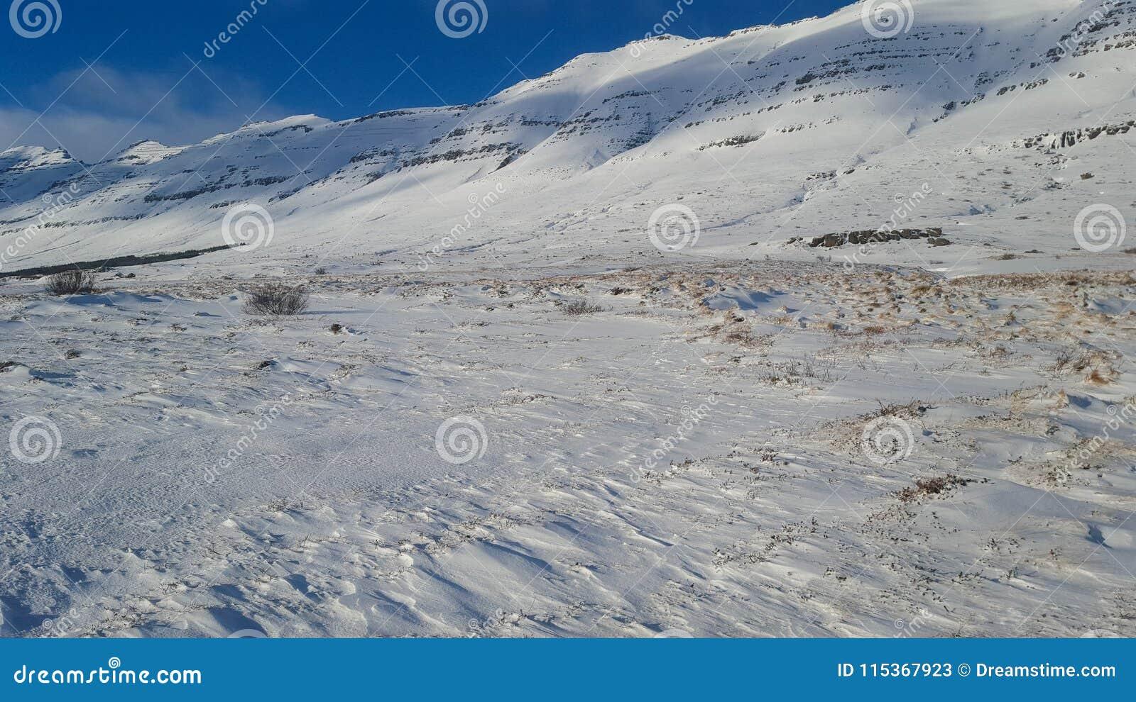 Kalte schneebedeckte Steigungen im Island