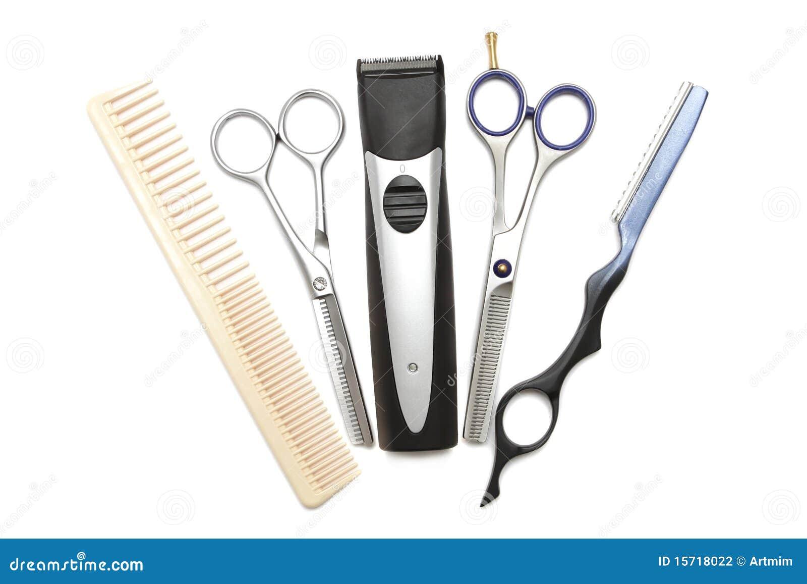 Kam schaar clippers en haarsnoeischaar stock fotografie afbeelding 15718022 - Witte kapper ...