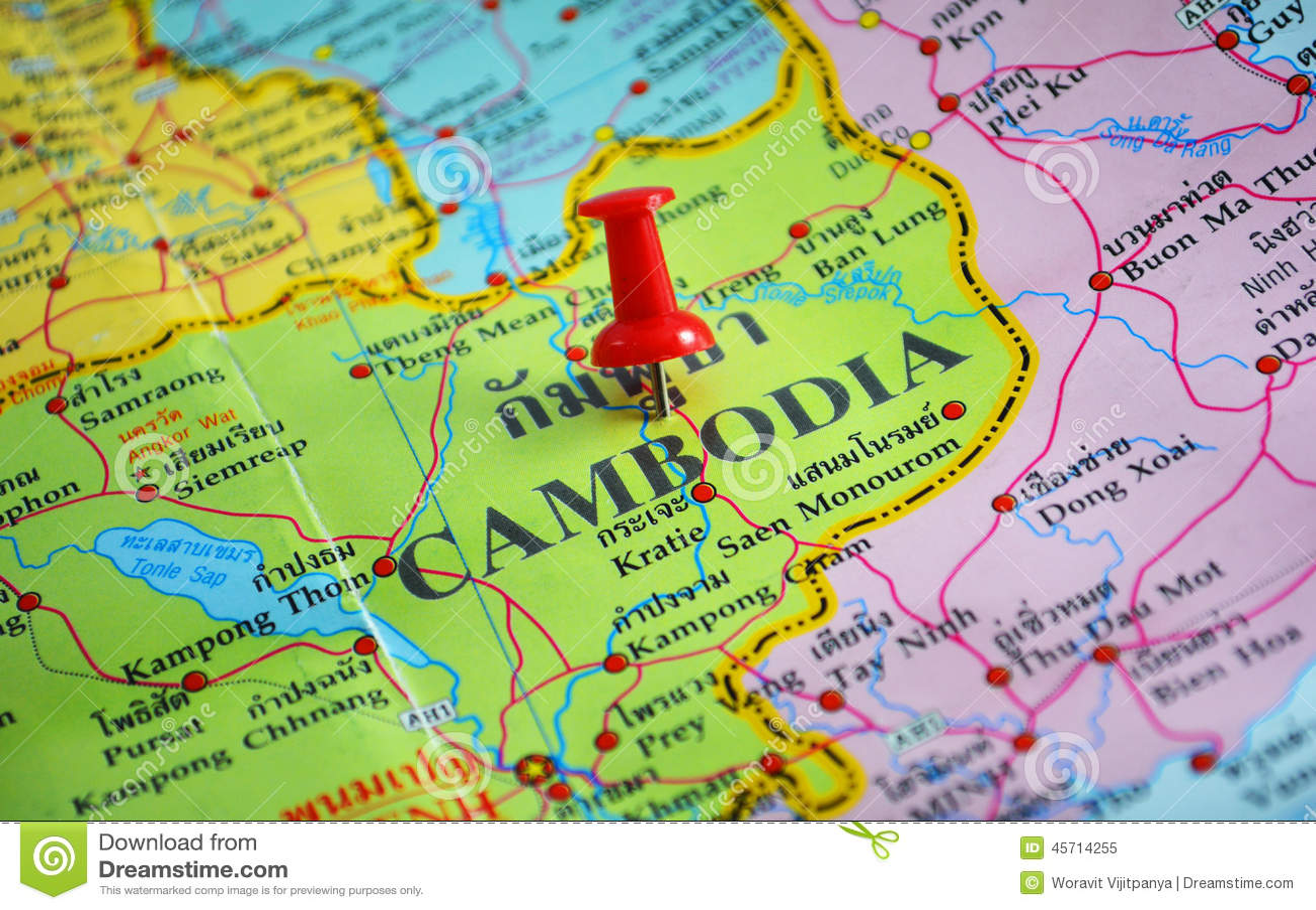 Kambodscha Karte.Kambodscha Karte Stockbild Bild Von Land Makro Tourist
