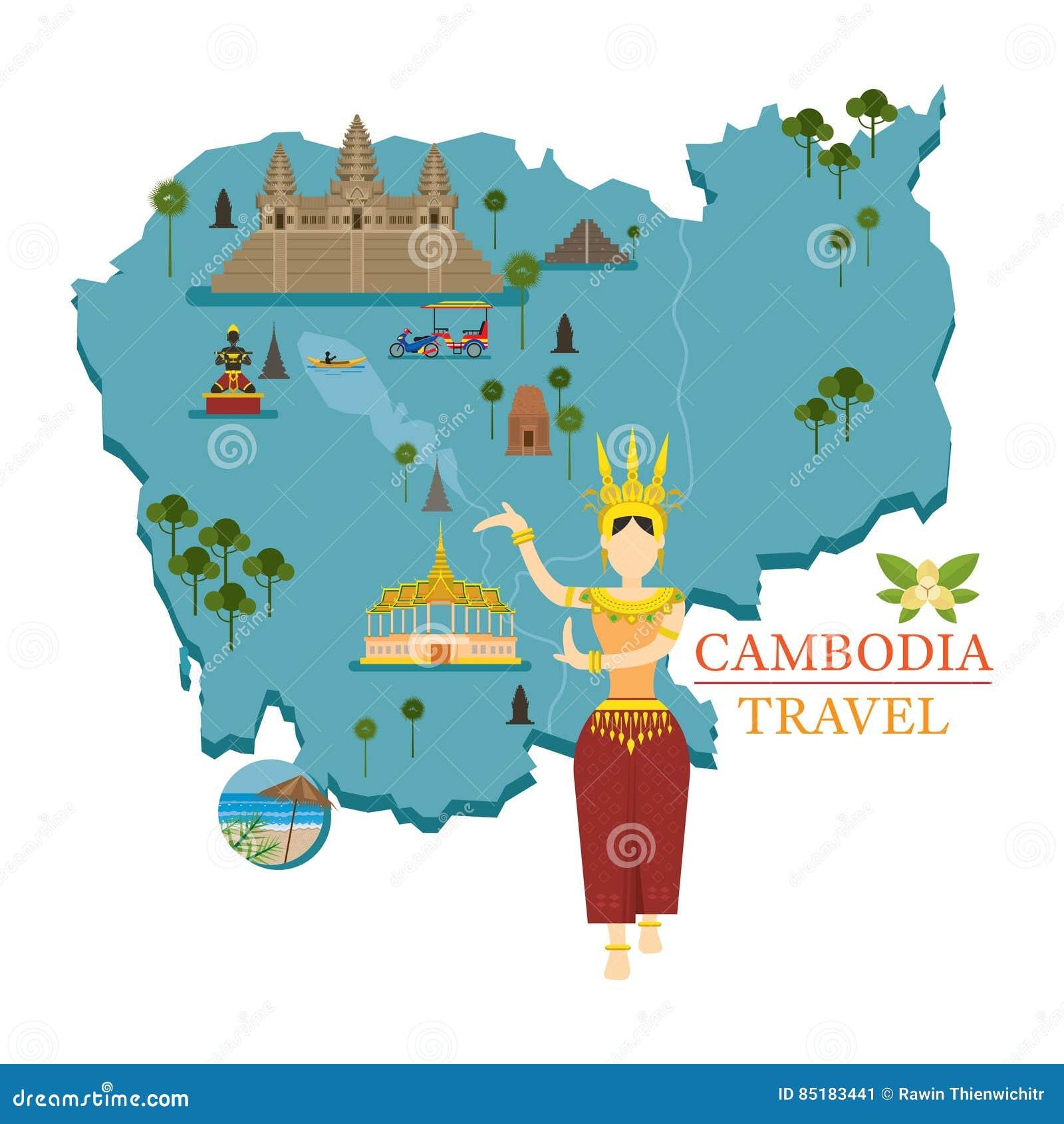 Kambodscha Karte.Kambodscha Karte Und Marksteine Mit Apsara Tanzer Vektor