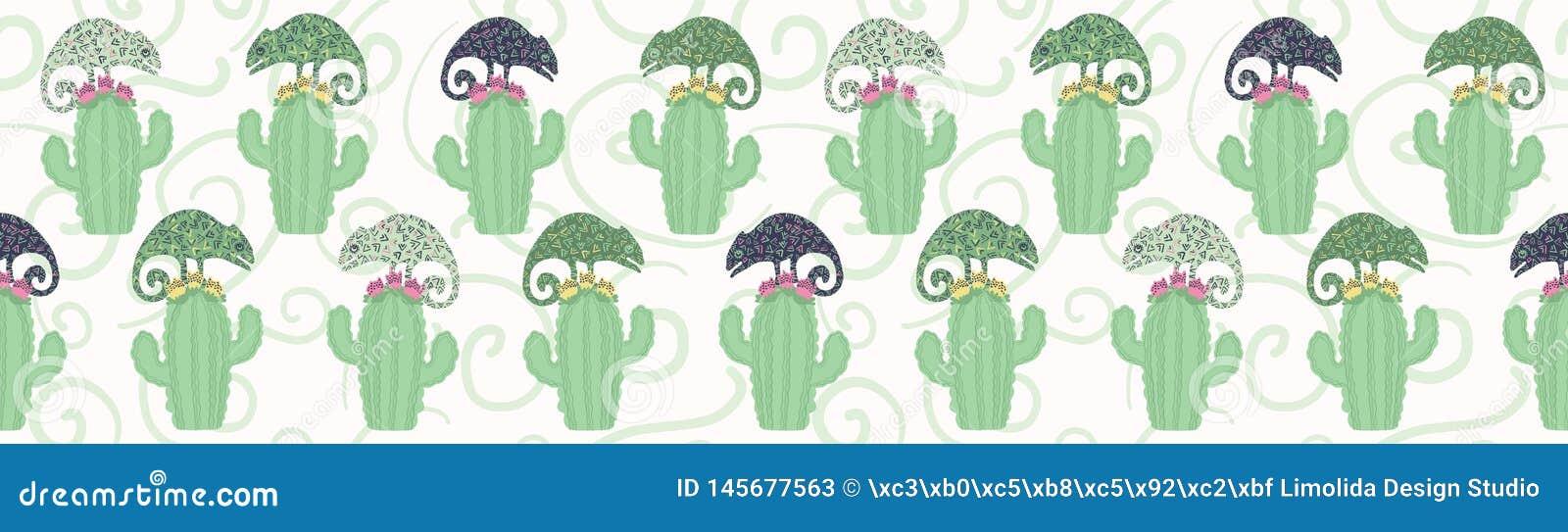 Kameleonhagedis en naadloos de grenspatroon van de cactusinstallatie Groene reptiel herhaalbare tegel vectorillustratie