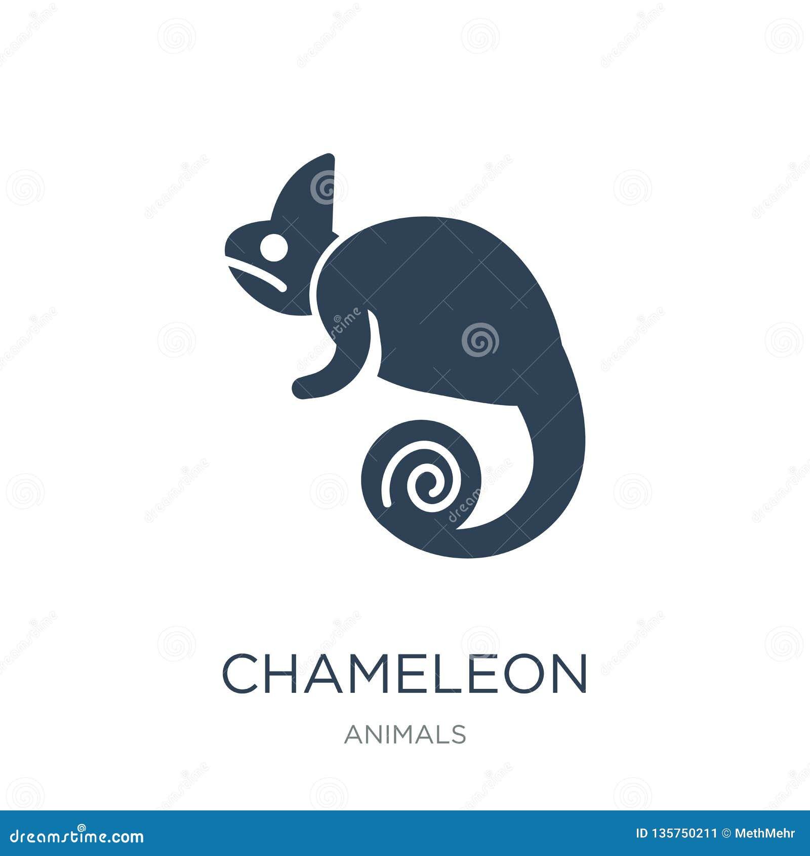 Kameleonpictogram in in ontwerpstijl kameleonpictogram op witte achtergrond wordt geïsoleerd die eenvoudige en moderne vlakte van