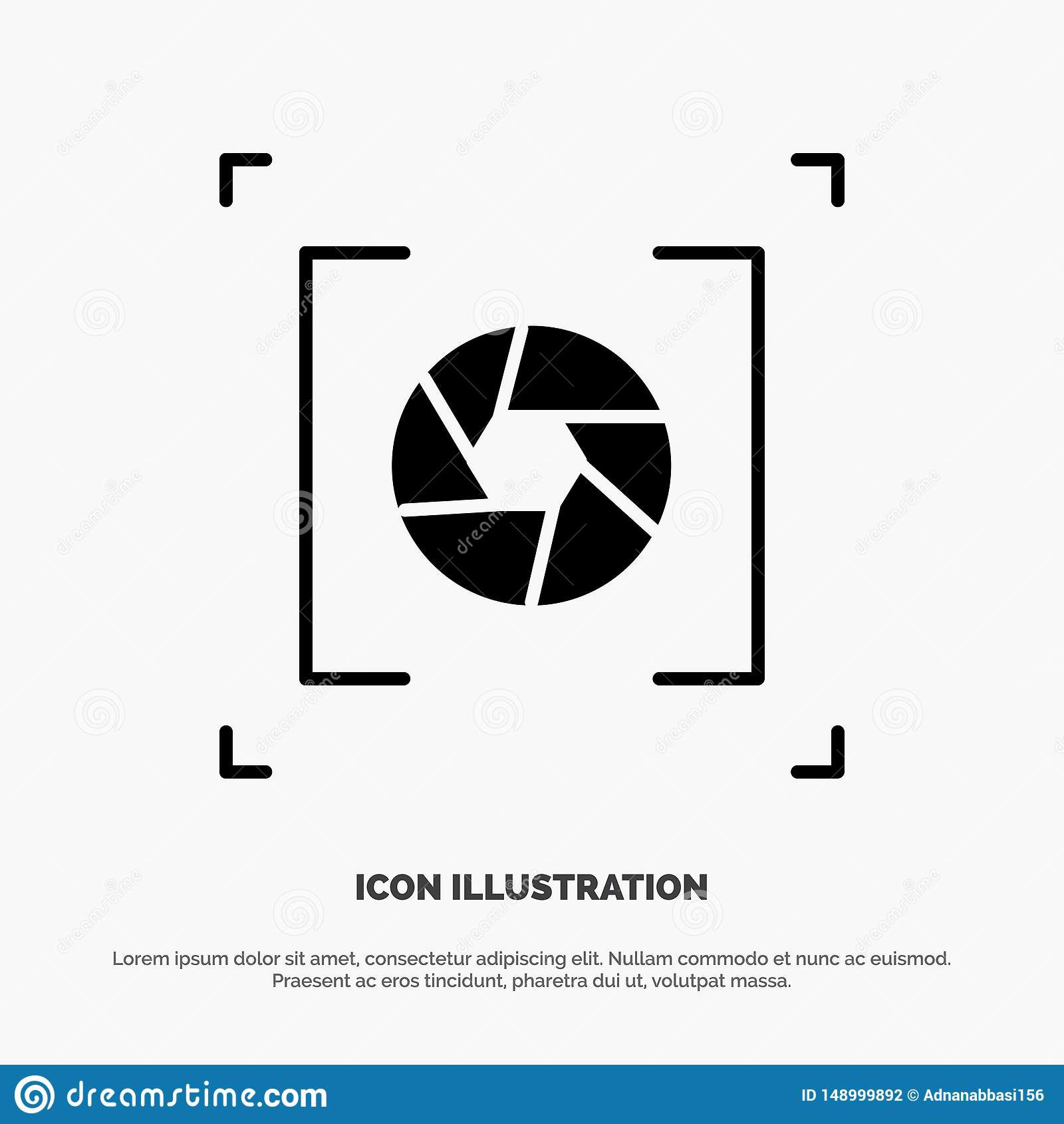 Kamera, apertura, obiektyw, fotografia glifu ikony stały wektor