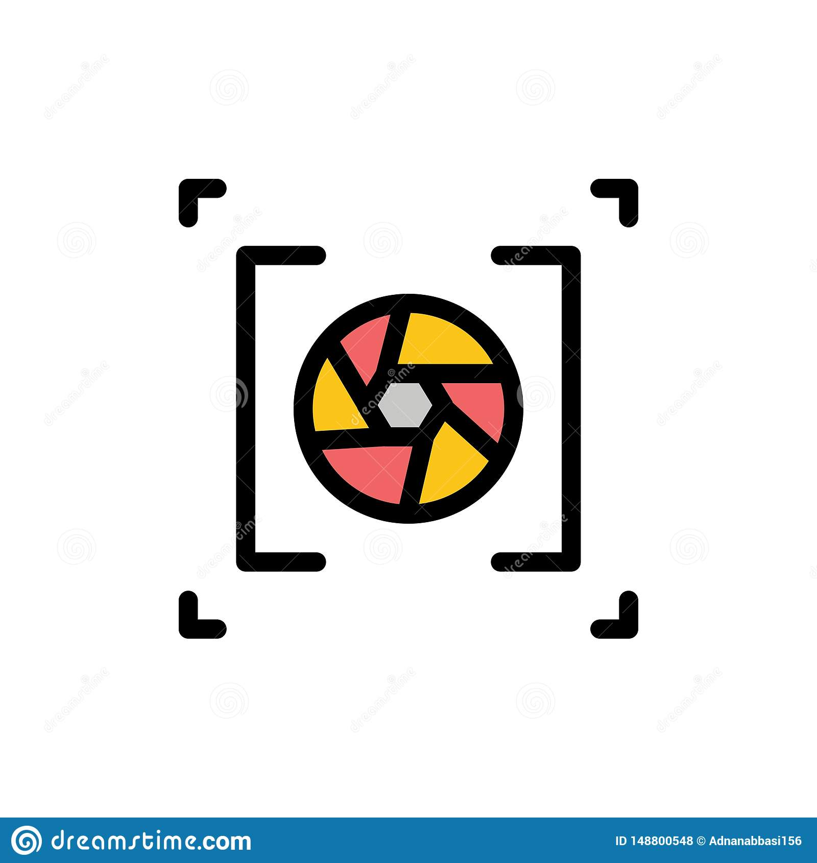 Kamera, apertura, obiektyw, fotografia koloru Płaska ikona Wektorowy ikona sztandaru szablon