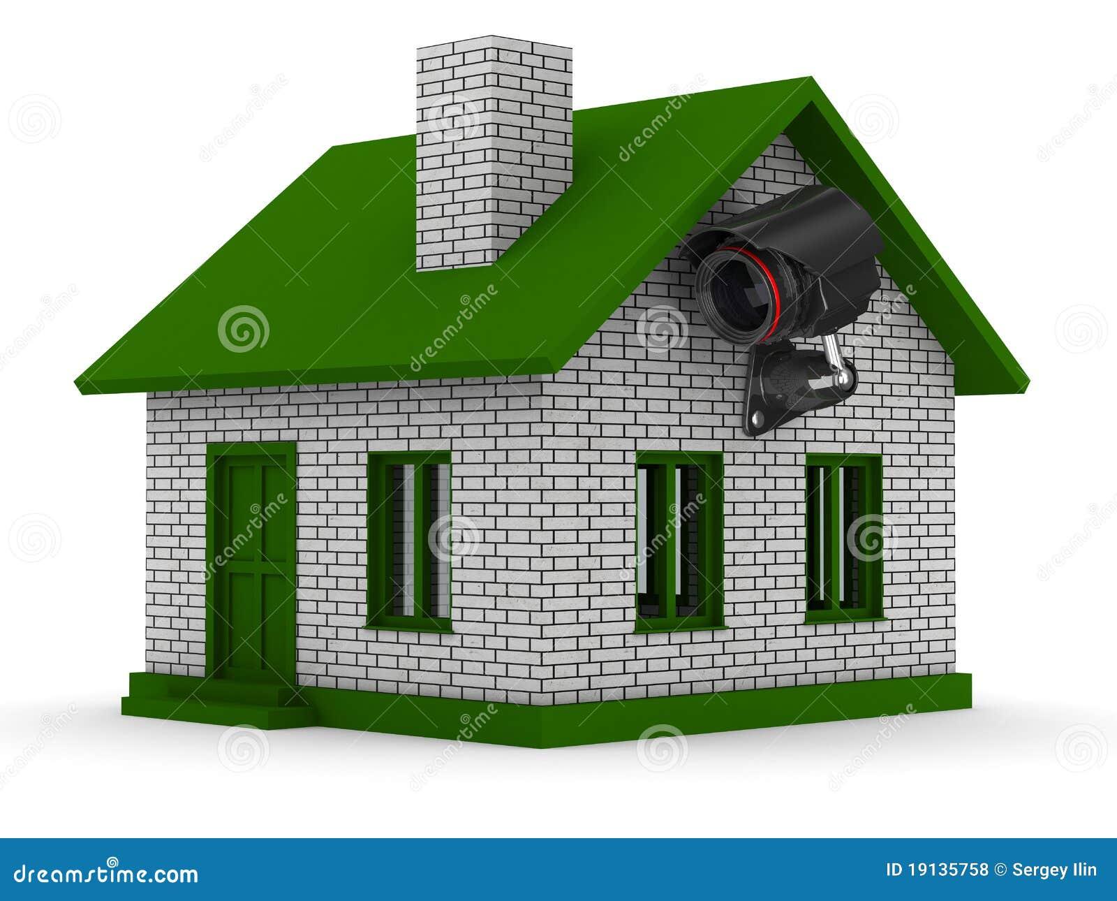 Kamera bezpieczeństwa na domu. Odosobniony 3D