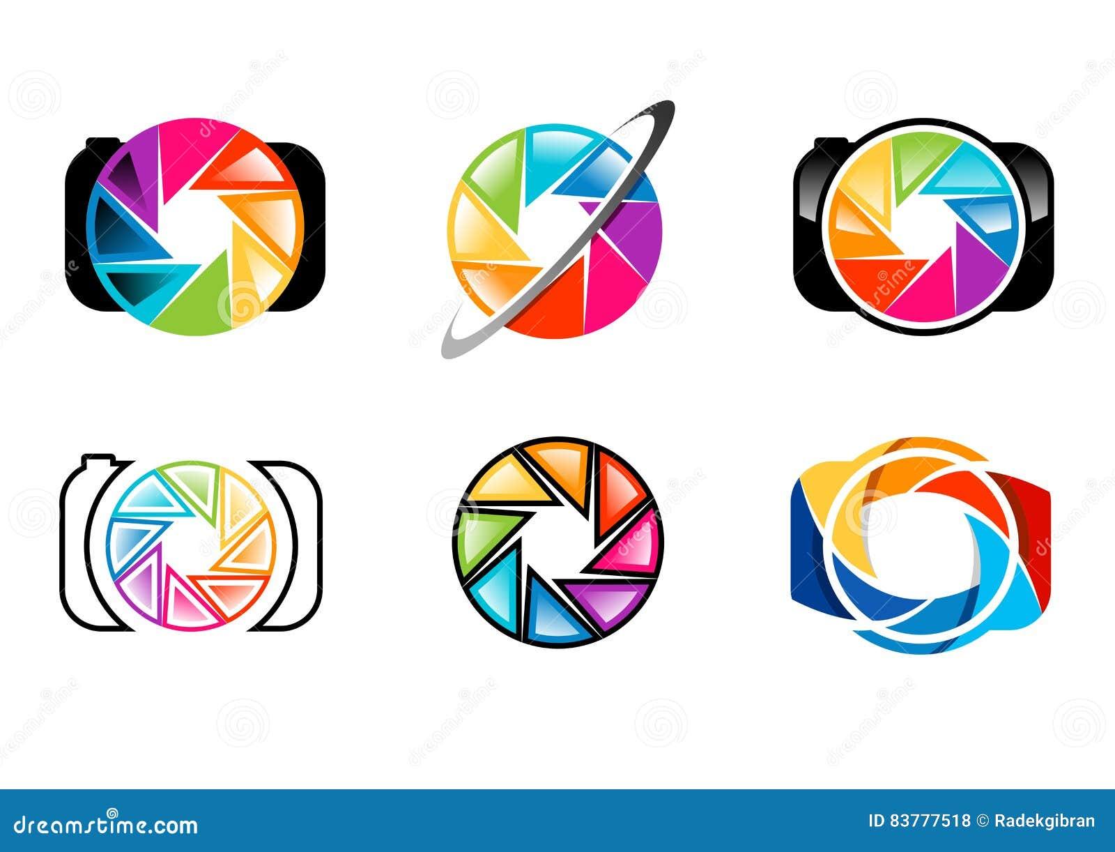 Kamera, logo, obiektyw, apertura, żaluzje, tęcza, colorize, set fotografia loga pojęcia symbolu ikony wektorowy projekt