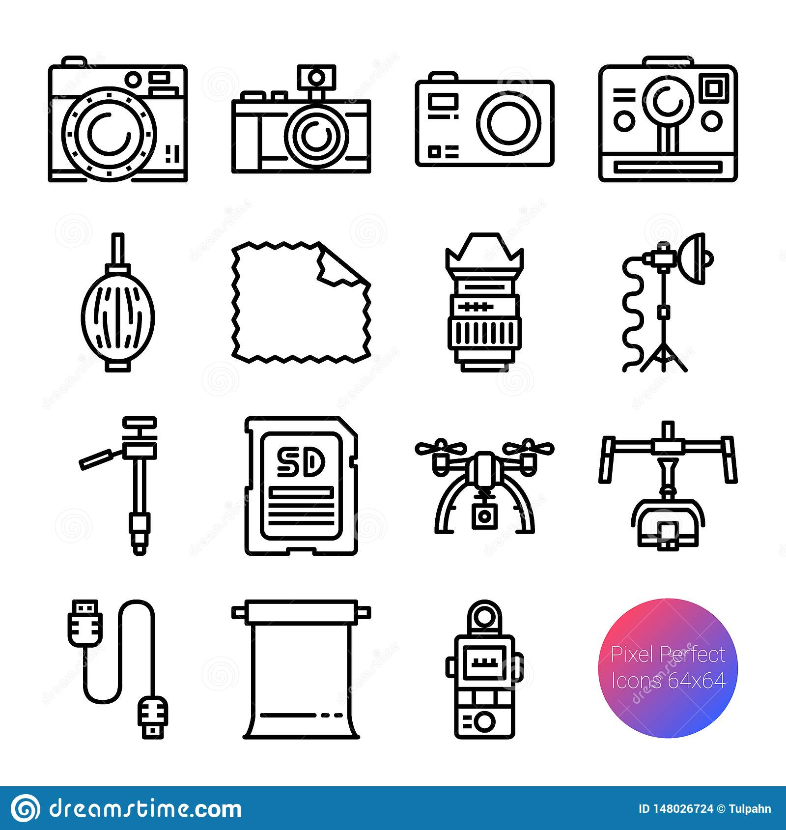 Kamera- och utrustning?versiktssymboler