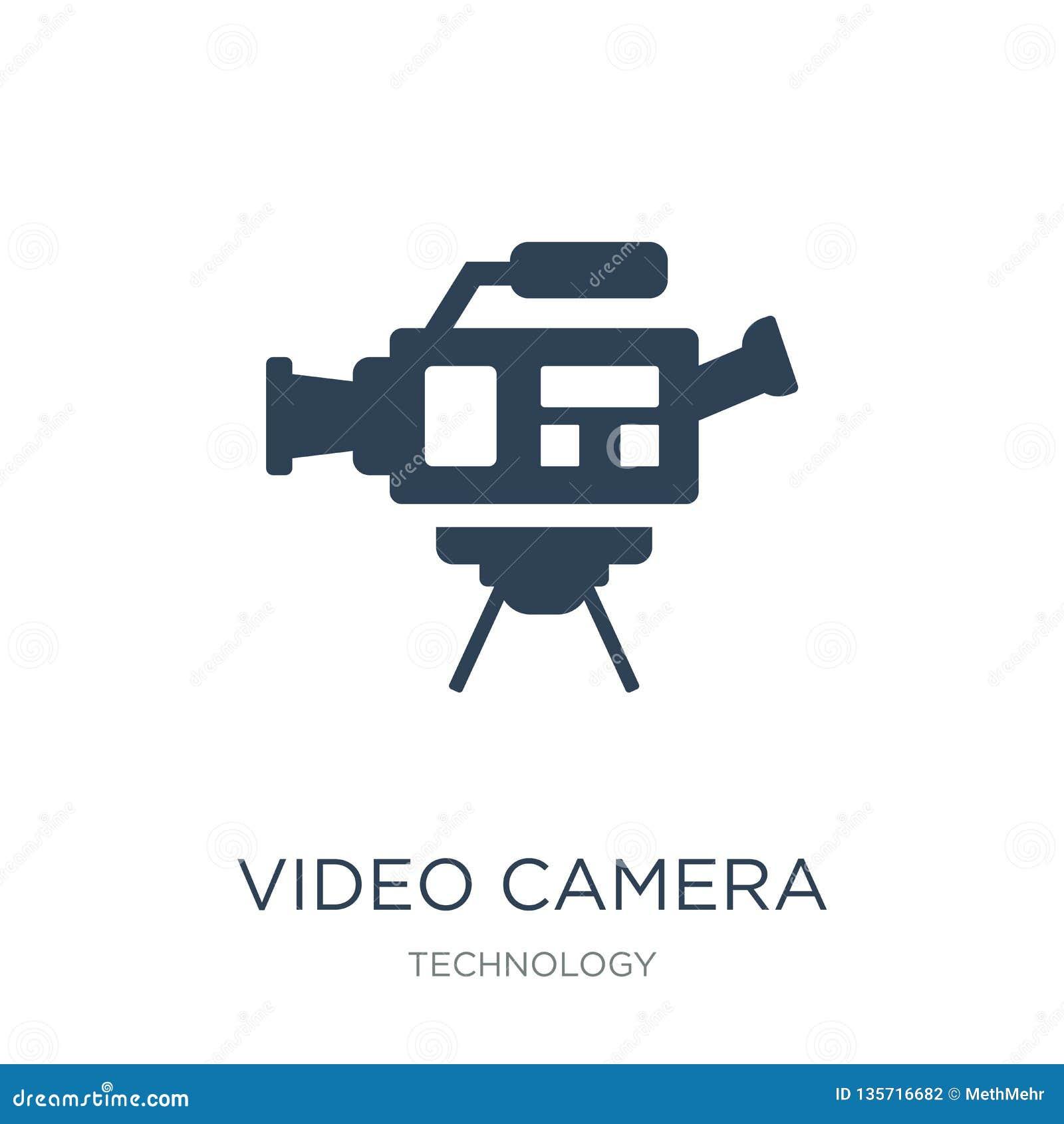 Kamera wideo bocznego widoku ikona w modnym projekta stylu kamera wideo bocznego widoku ikona odizolowywająca na białym tle kamer