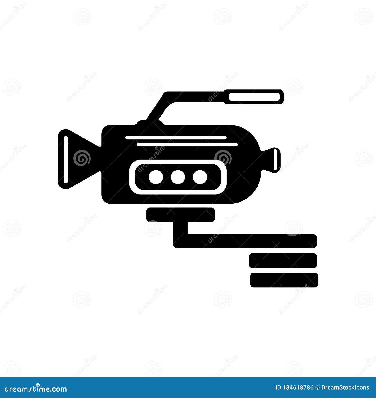 Kamera wideo bocznego widoku ikony wektoru znak i symbol odizolowywający na w