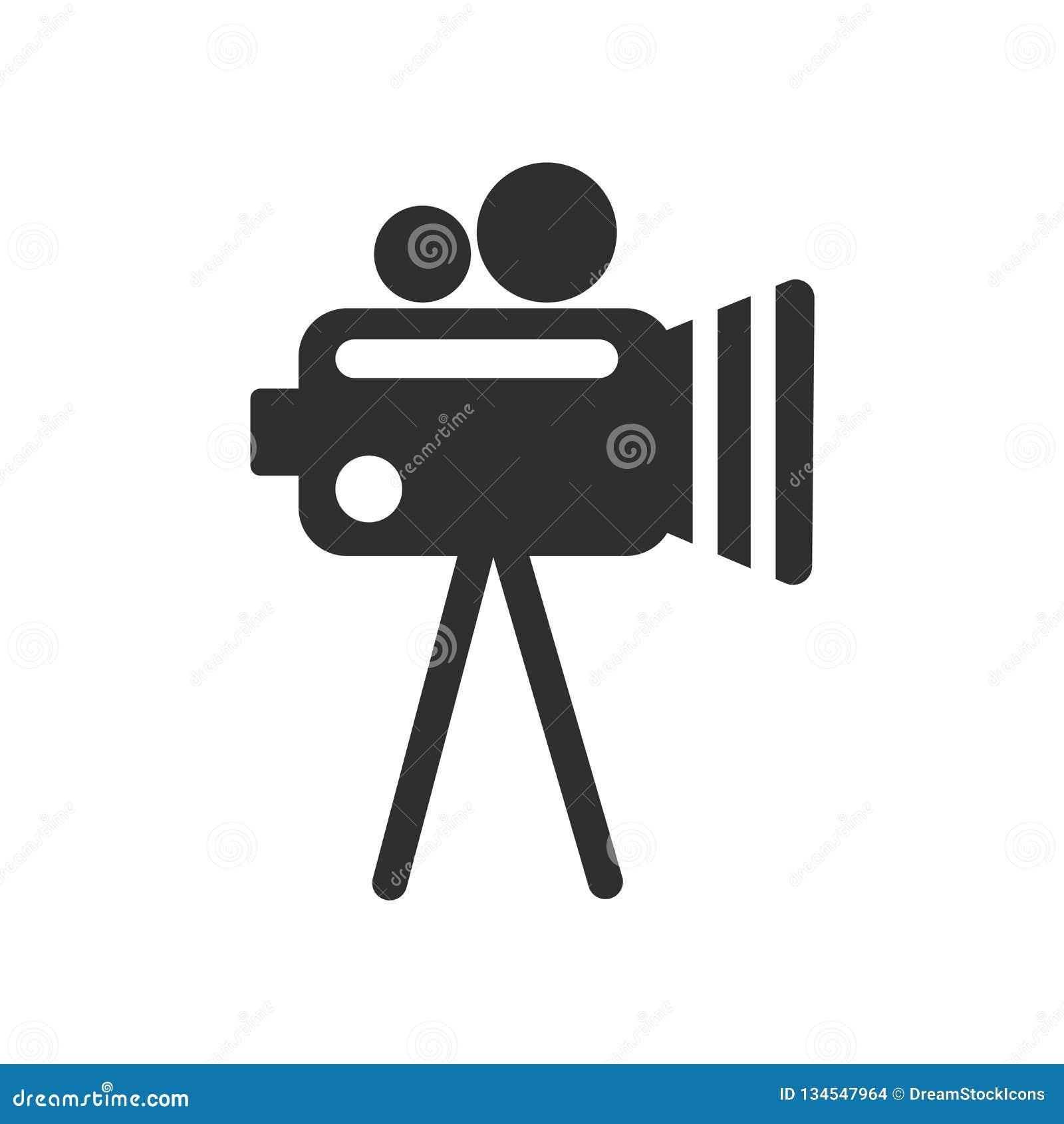 Kamera wideo ikony wektoru znak i symbol odizolowywający na białym tle, kamera wideo loga pojęcie