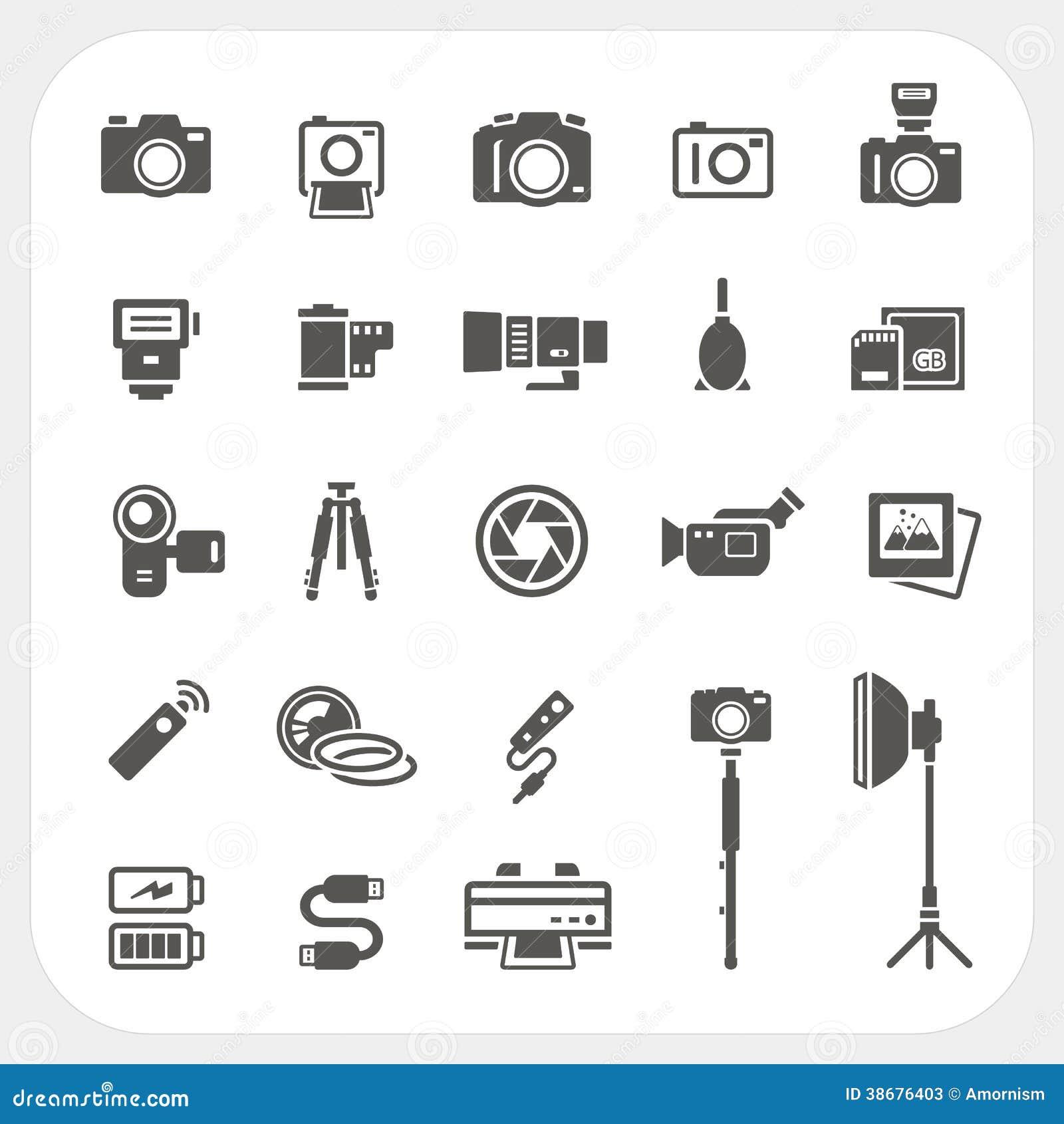 Kamerasymbols- och för kameratillbehörsymboler uppsättning