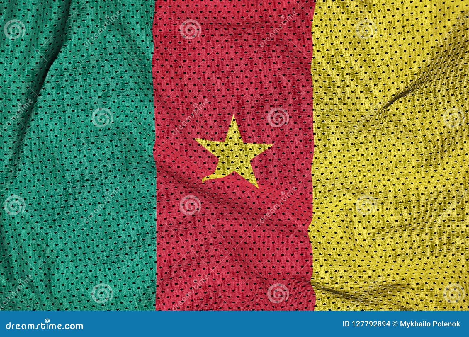Kamerunflagga som skrivs ut på en fabri för ingrepp för polyesternylonsportswear