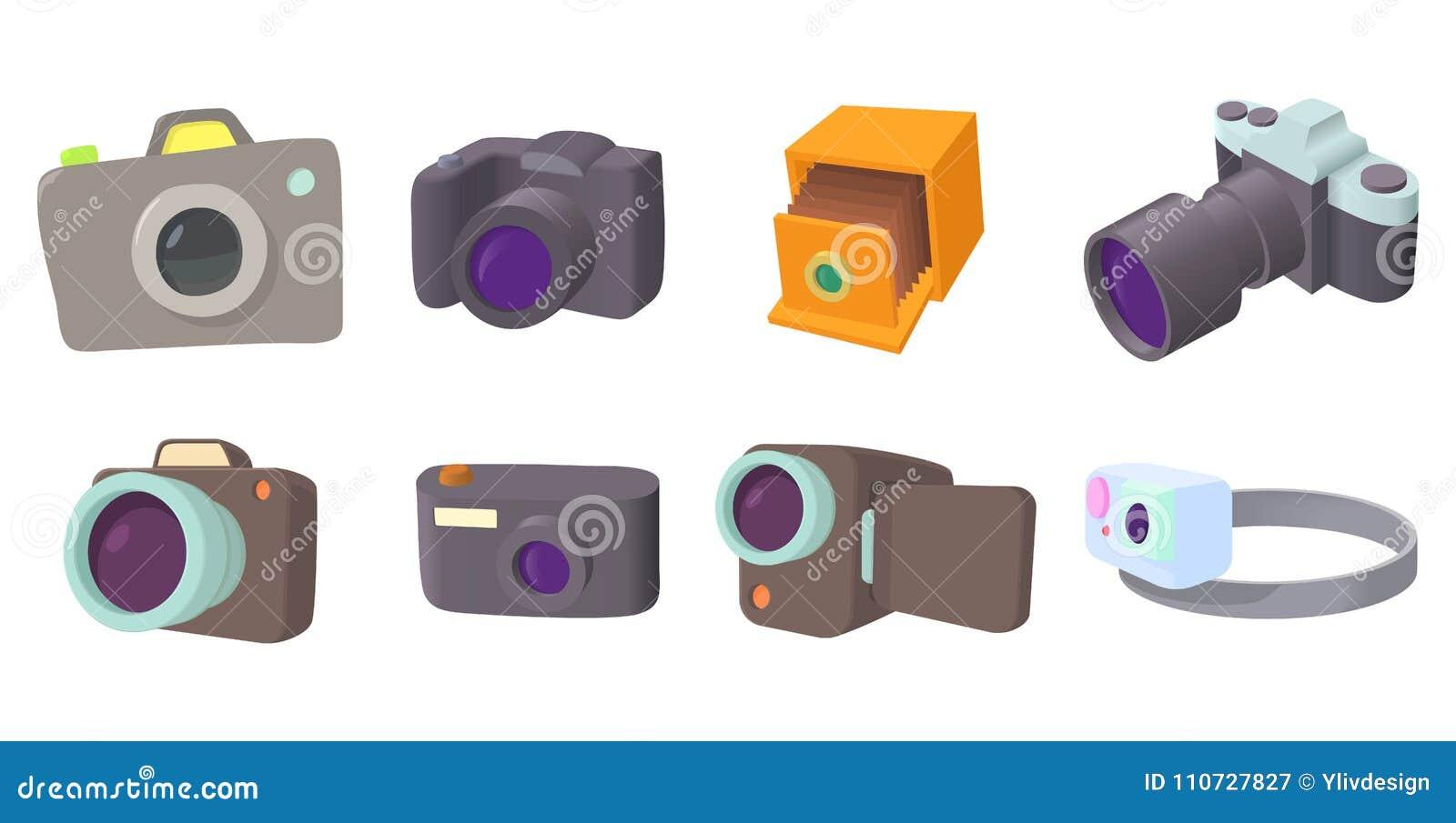 Kamery ikony set, kreskówka styl