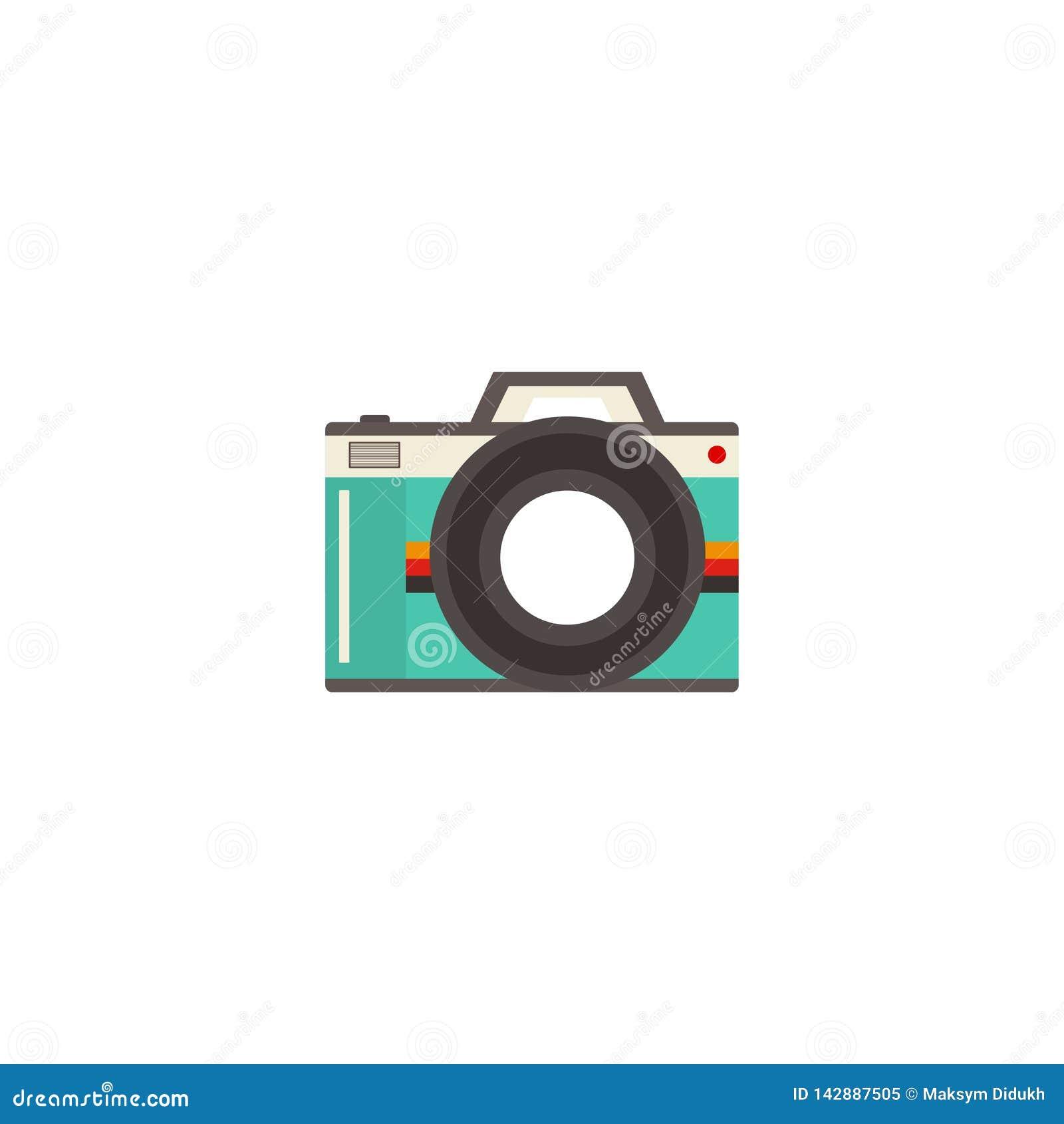 Kamery wektorowa ikona, retro kamera Biały tło również zwrócić corel ilustracji wektora 10 eps