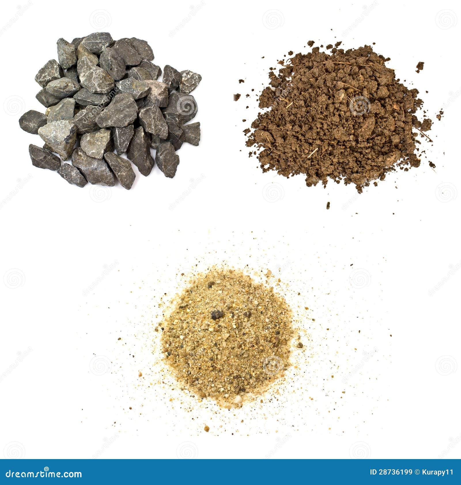 Kamień, ziemia, piasek