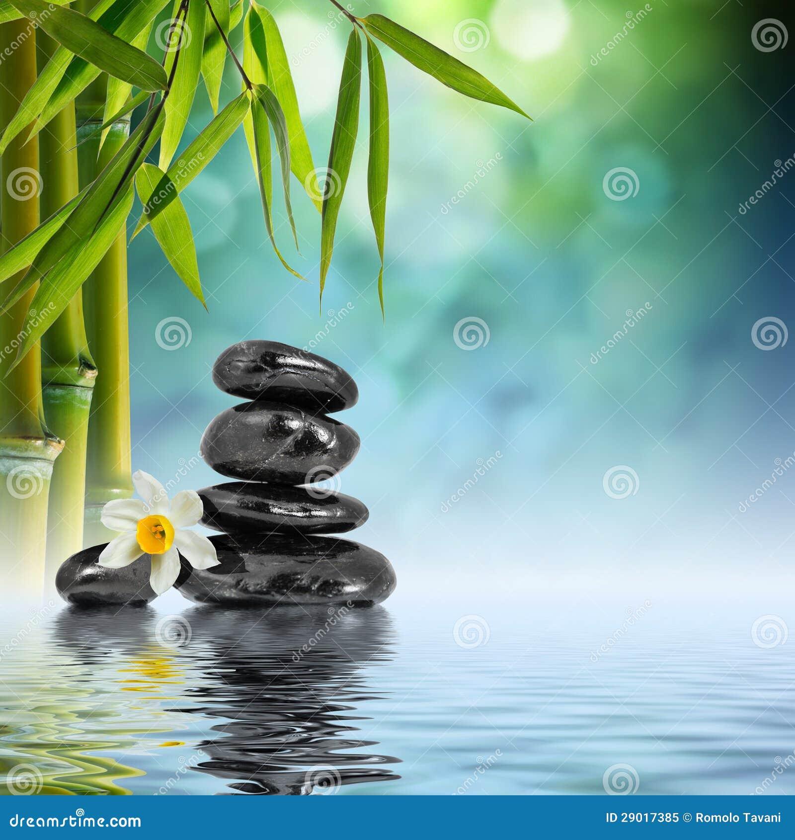 Kamienie i bambus na wodzie