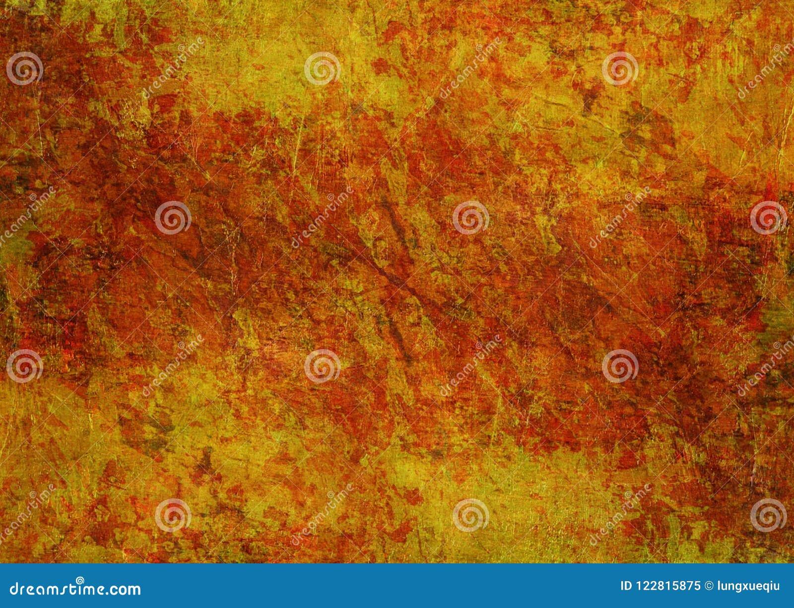 Kamienie Maluje Tajemniczego Żółtego Czerwonego Pomarańczowego Brown Grunge tekstury jesieni tła Ciemną Ośniedziałą Zniekształcaj