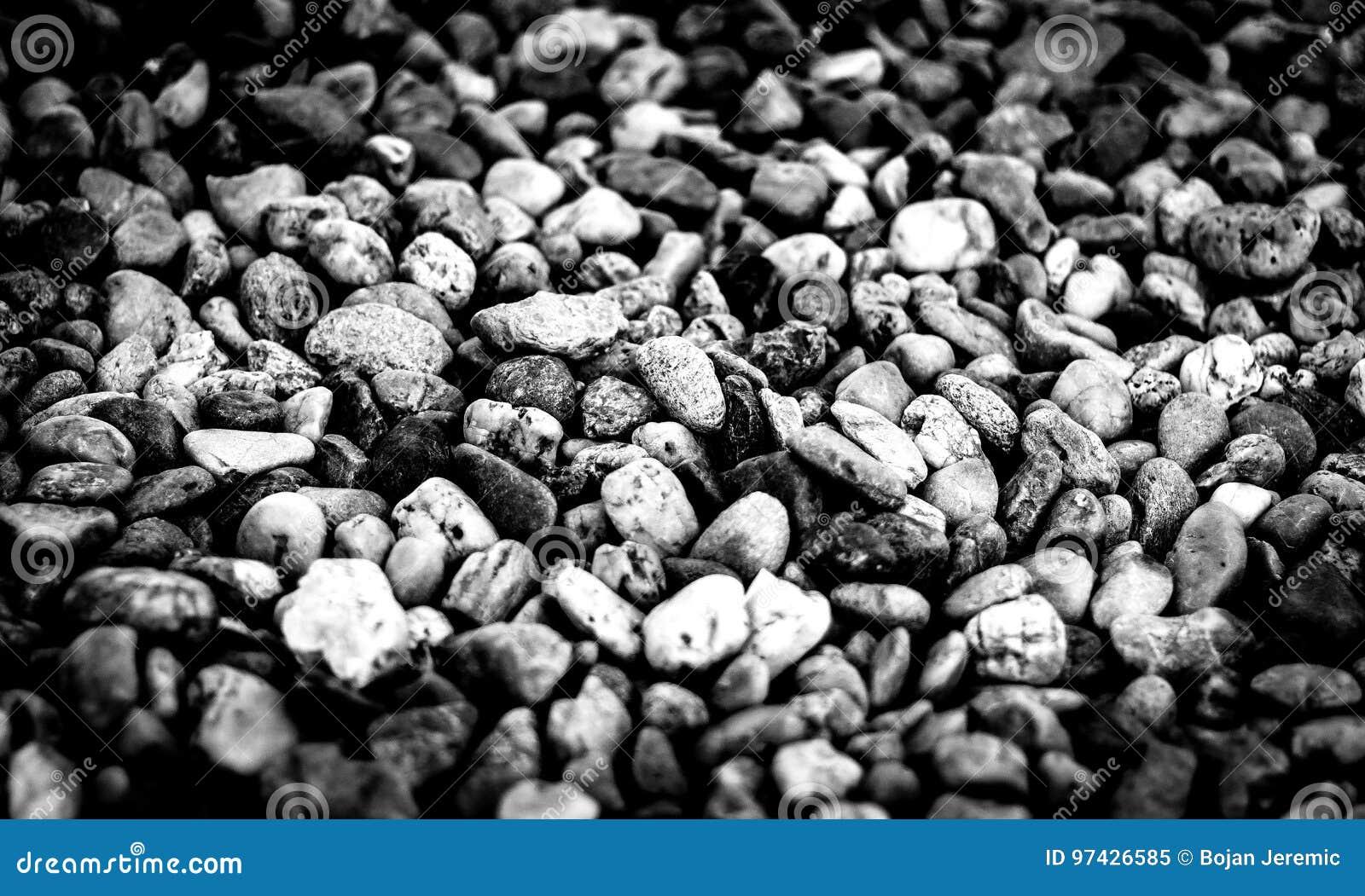 Kamienie przy plażą w czarny i biały
