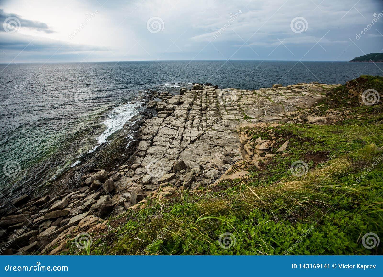 Kamienna plaża Wszystkie kamienie rozkłada w liniach prostych