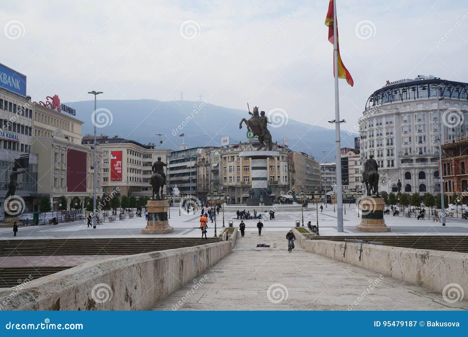 Kamienny most i główny plac, Skopje
