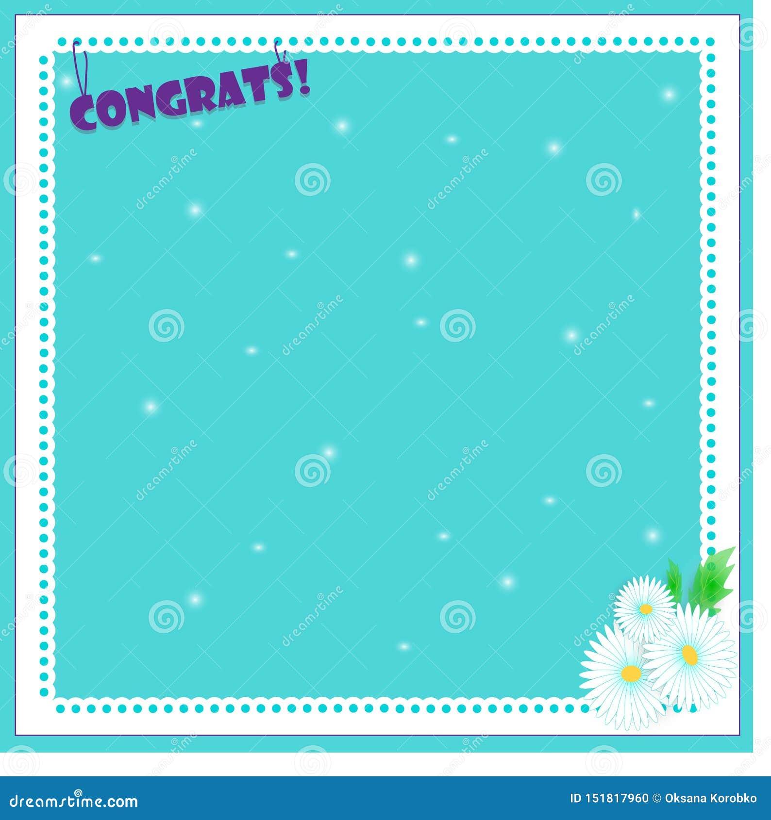 Kamille blauwe achtergrond met kader, vectorillustratie