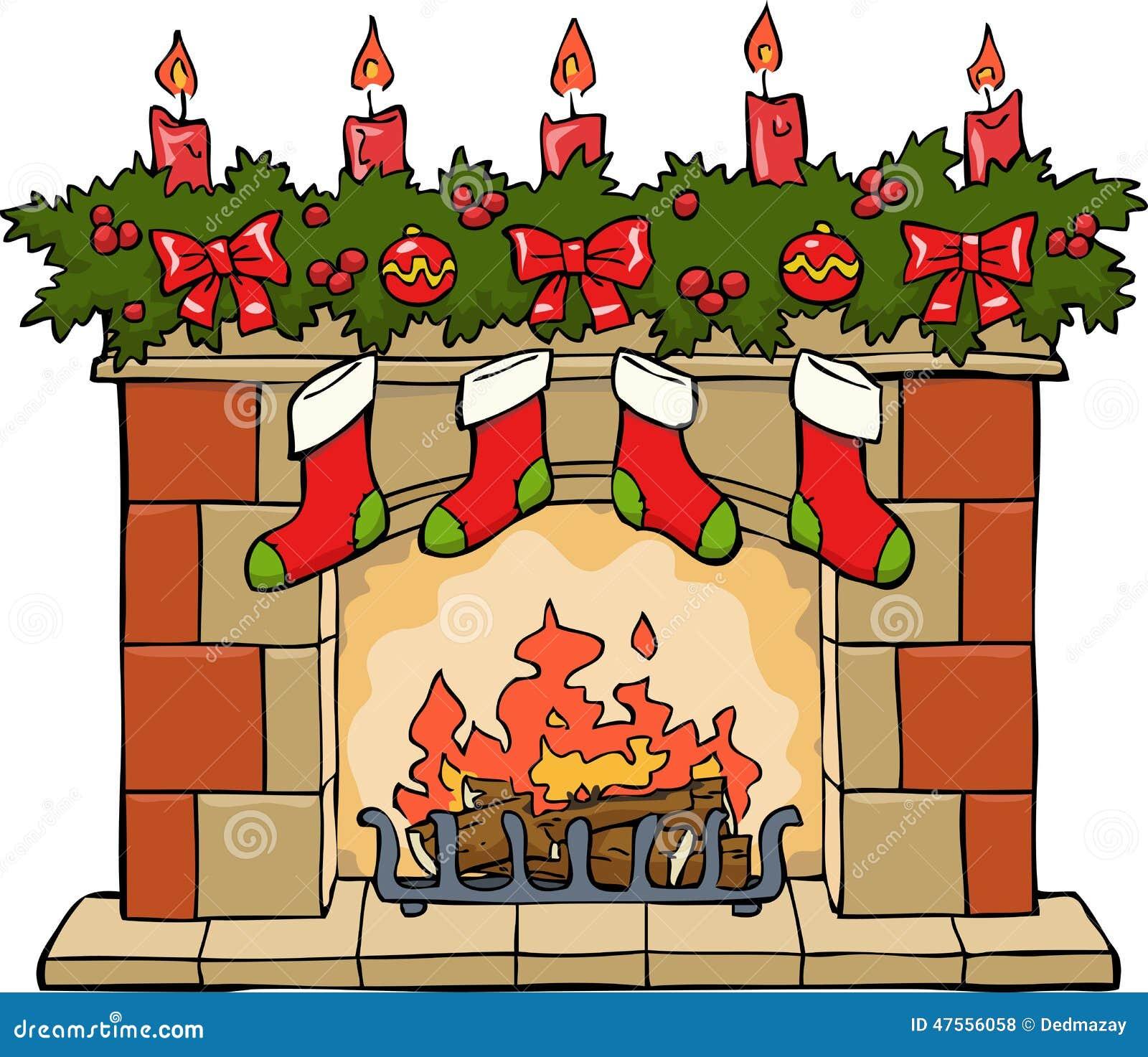kamin im weihnachten vektor abbildung bild von feuer 47556058. Black Bedroom Furniture Sets. Home Design Ideas