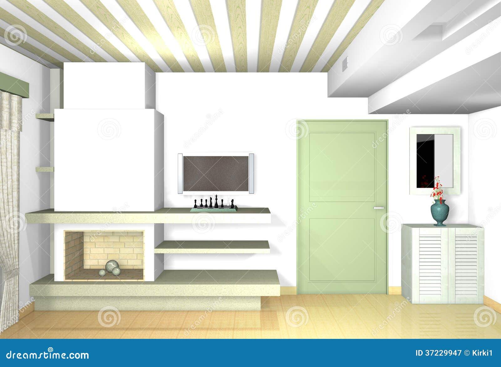 Download Kamin Im Wohnzimmer Mit Traditionellen Materialien In Den Modernen  Formen Stock Abbildung   Illustration Von