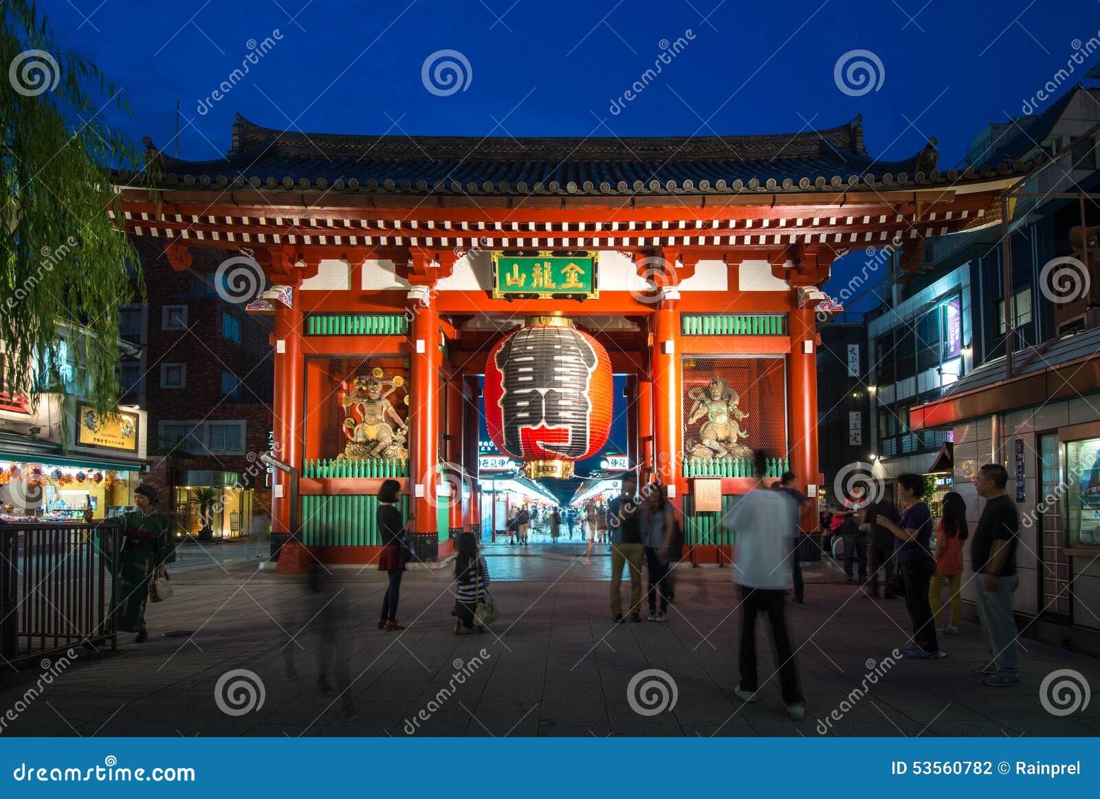 Kaminarimon Gate of the Asakusa Kannon Temple in Tokyo, Japan