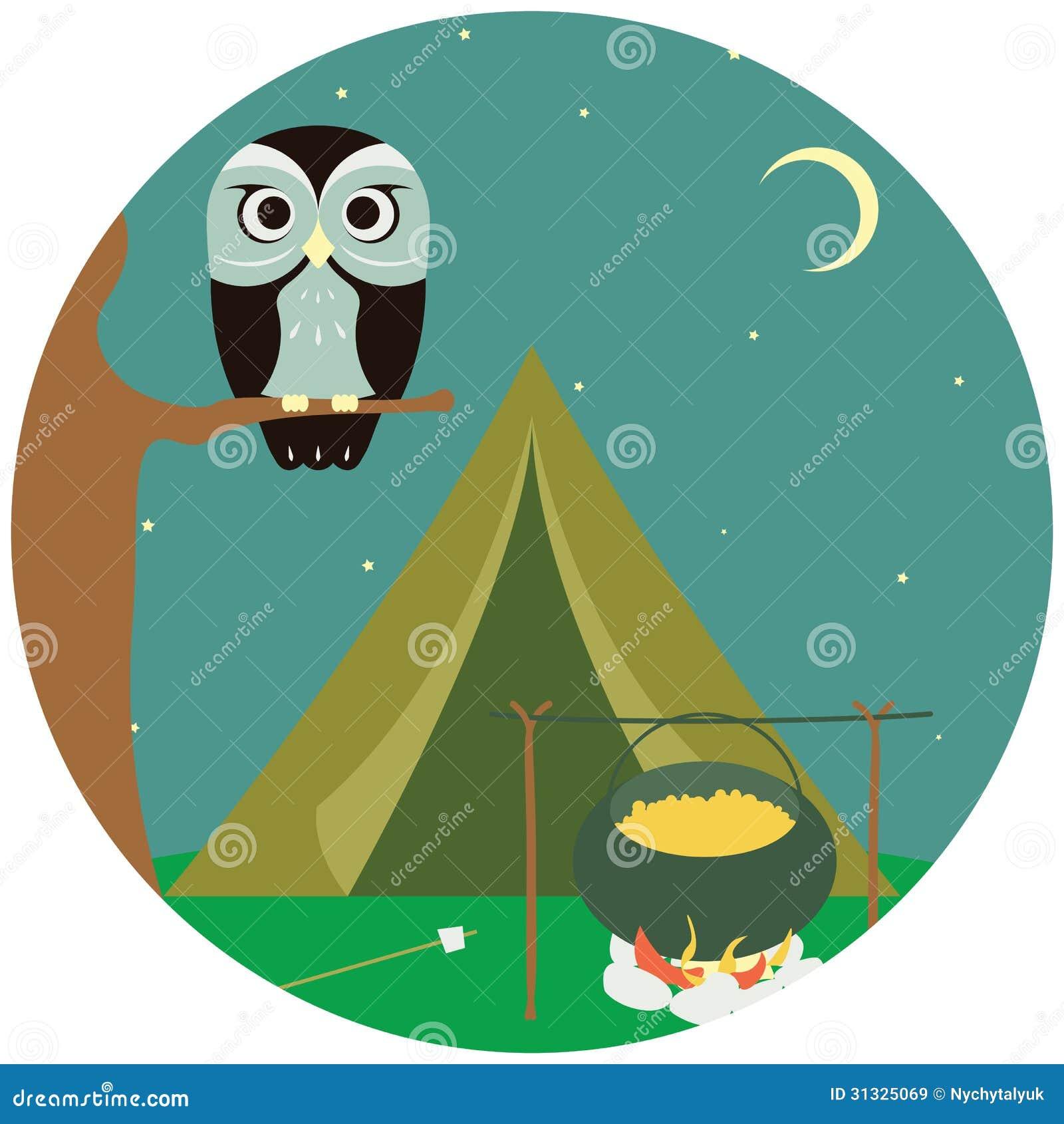 kamperen houten met tent en uil royalty vrije stock campfire clip art free images campfire clipart images
