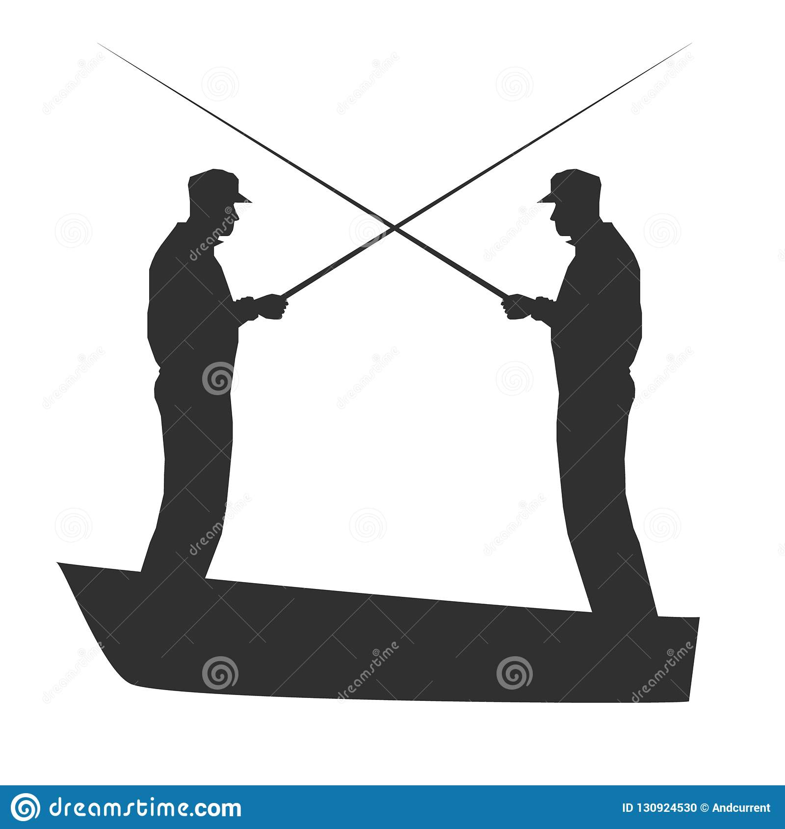 Kampf der Fischer Vektorschattenbild illustration