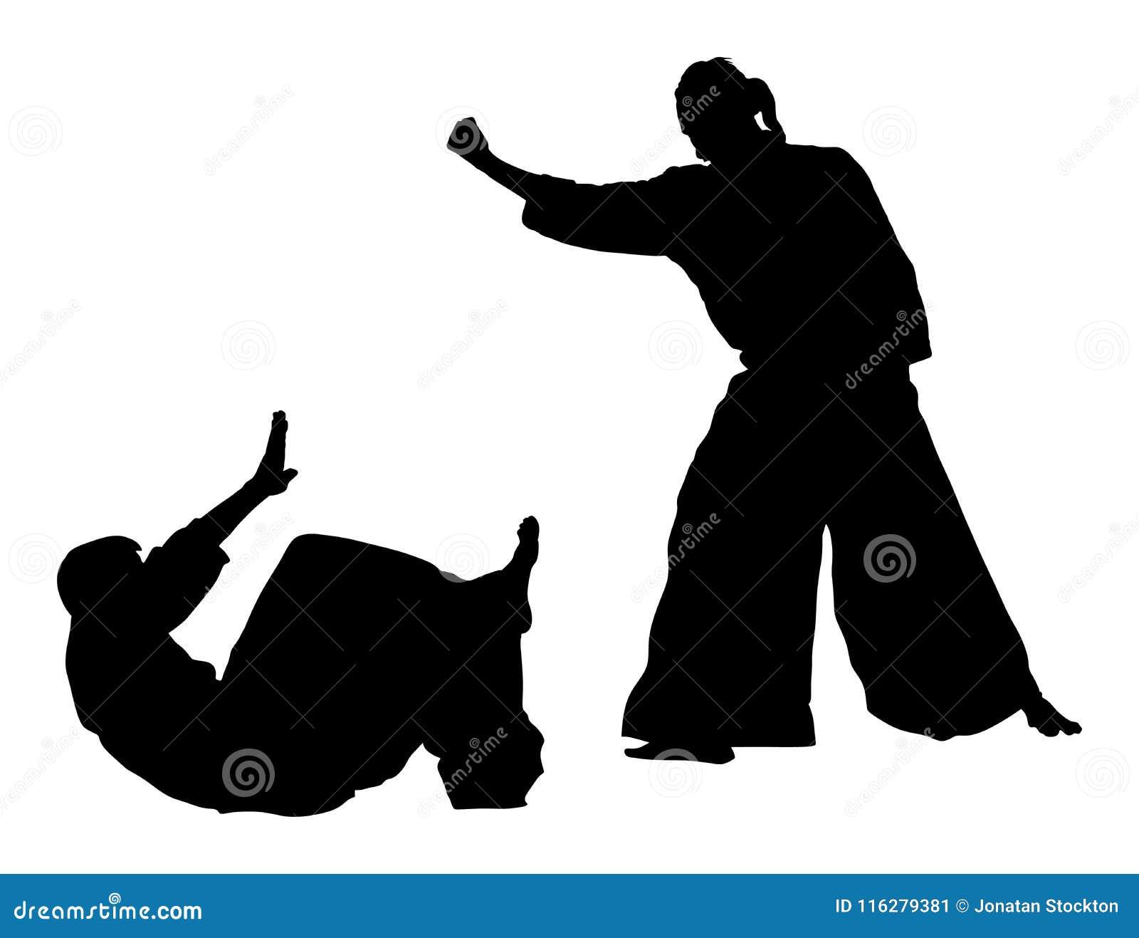 Kampf zwischen dem Schattenbild mit zwei Aikidokämpfern