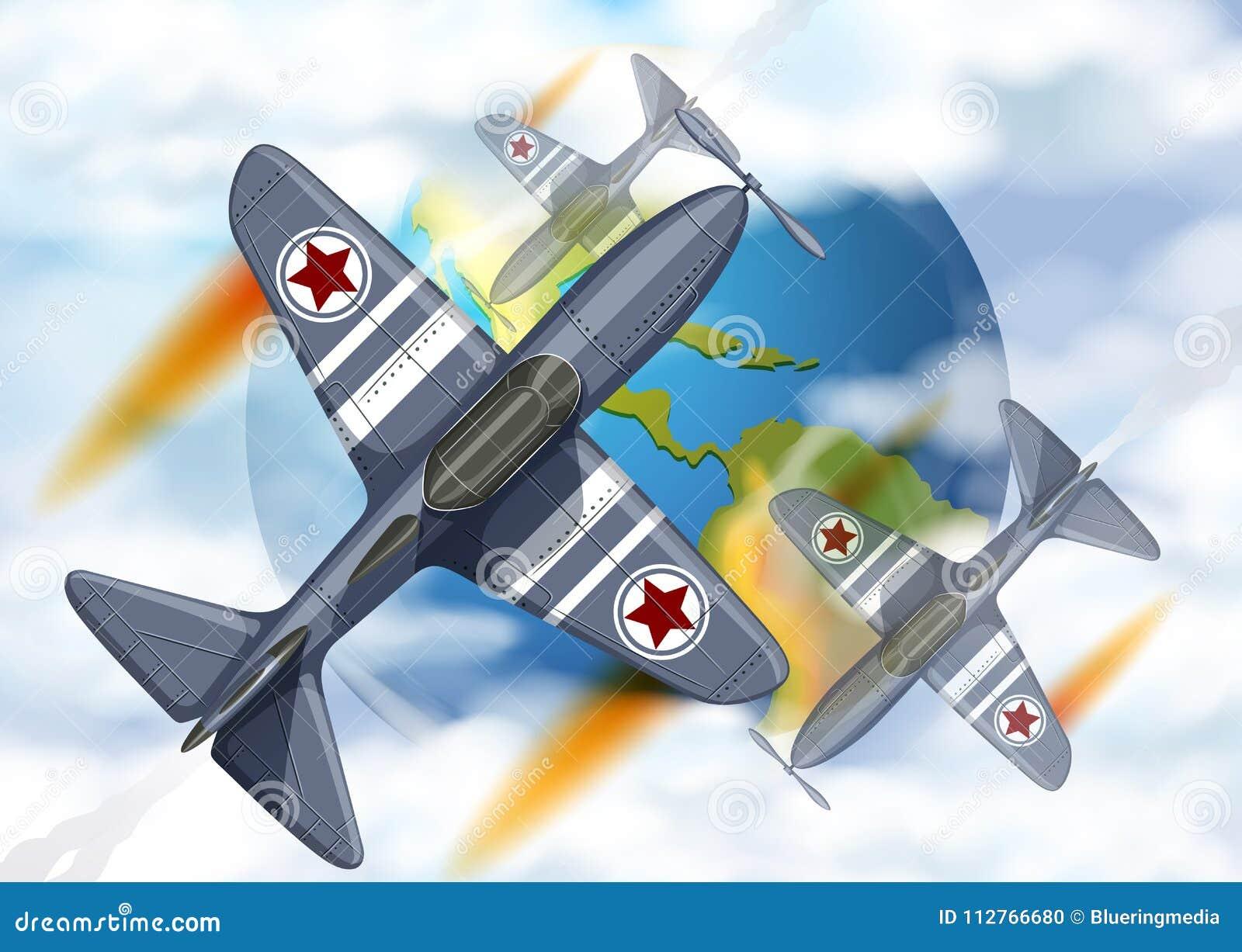 Kampfflugzeugfliegen um die Erde