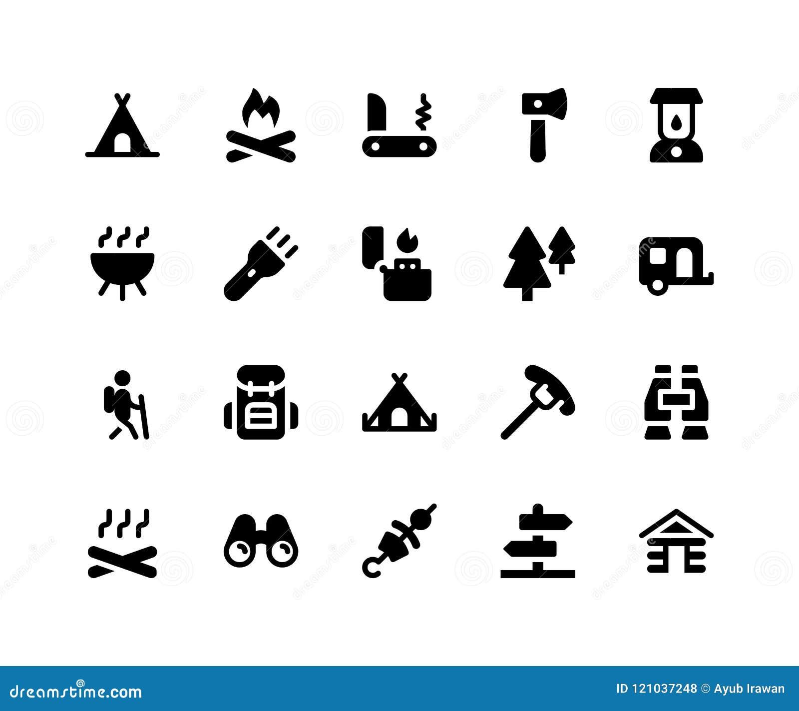 Kampierende Glyph-Ikonen