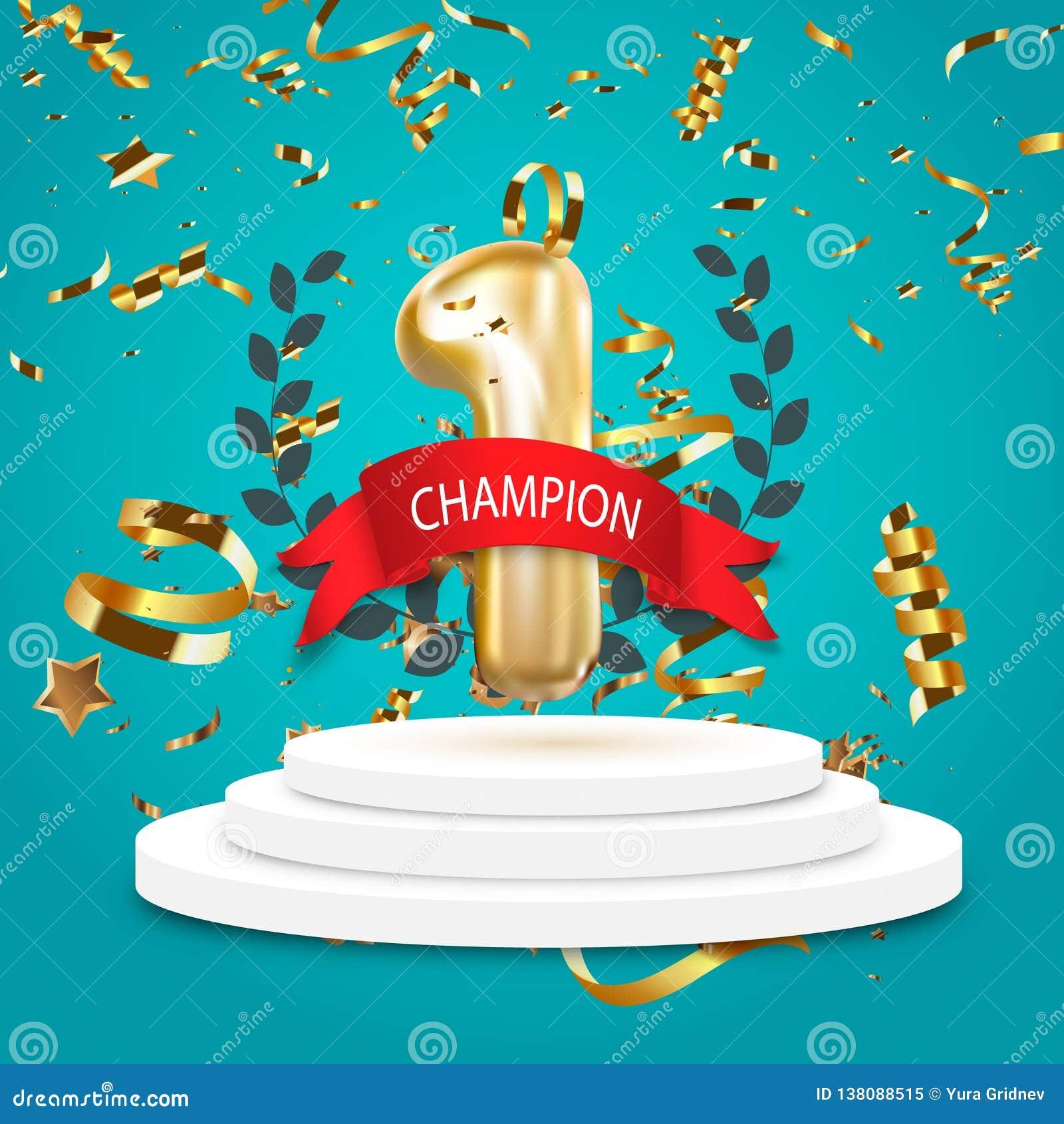Kampioen, winnaar, nummer één achtergrond met rood lint, olijftak en confettien op rond die voetstuk op blauw wordt geïsoleerd Af