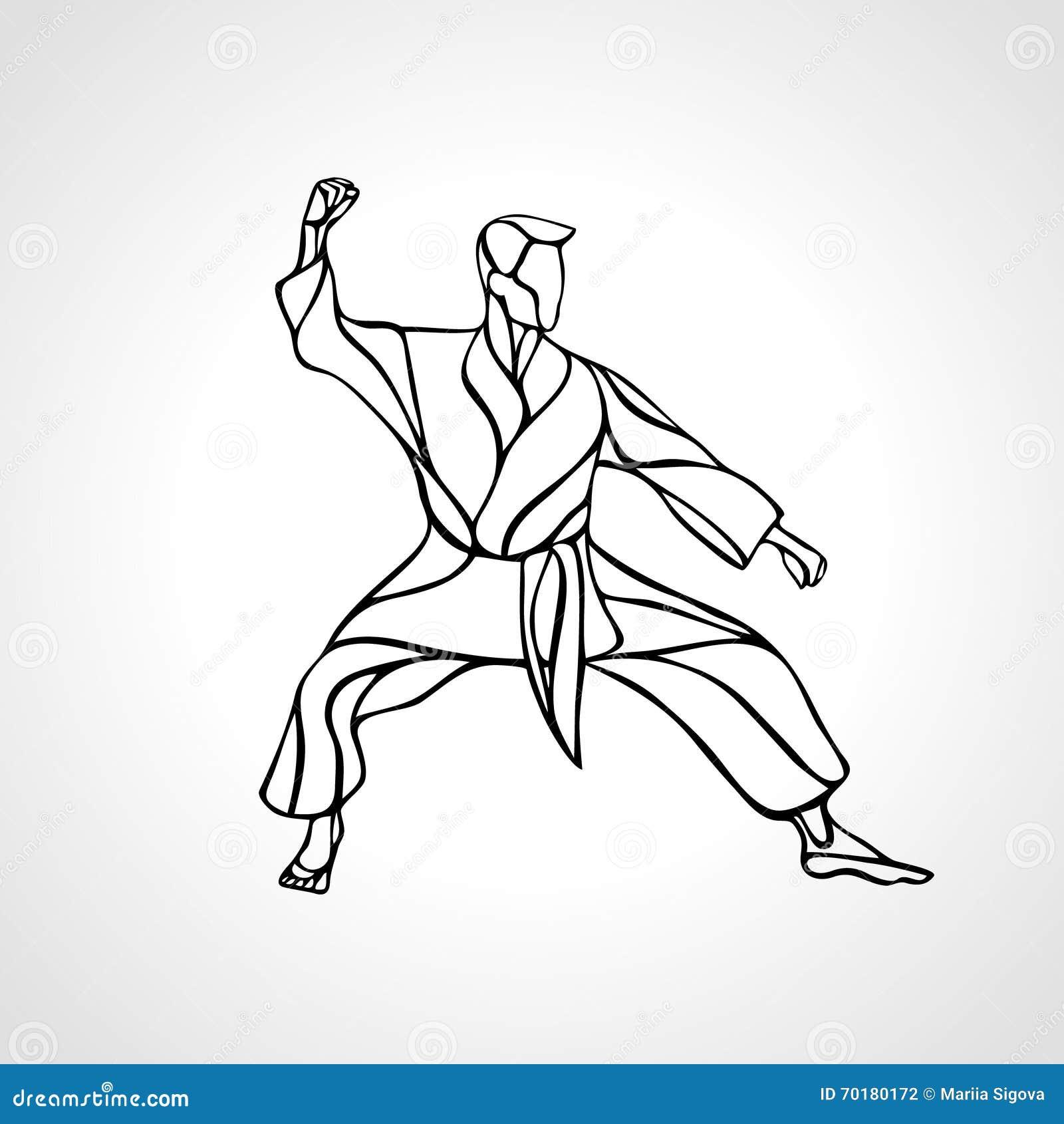 Kampsporter poserar konturn Karatekämpe