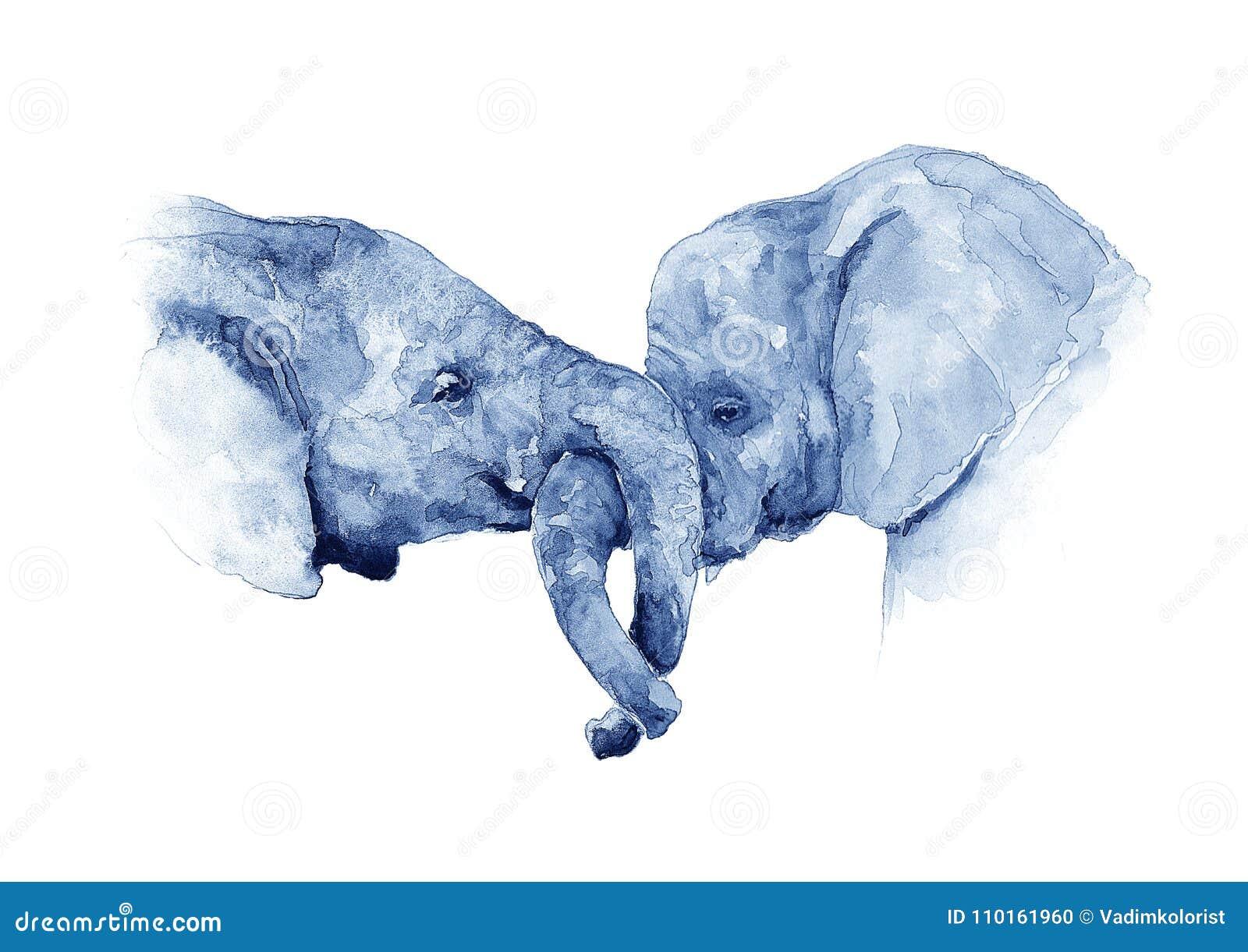 Kamratskap av elefanter vattenfärg