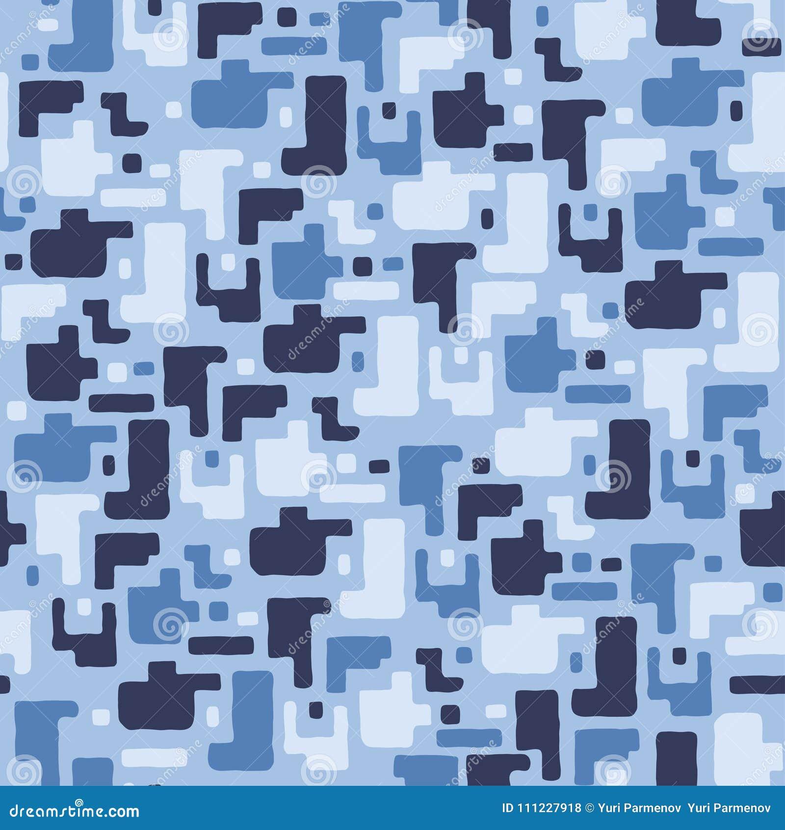 Kamuflażu deseniowy tło, bezszwowa wektorowa ilustracja Błękit, denni kolory, morska tekstura