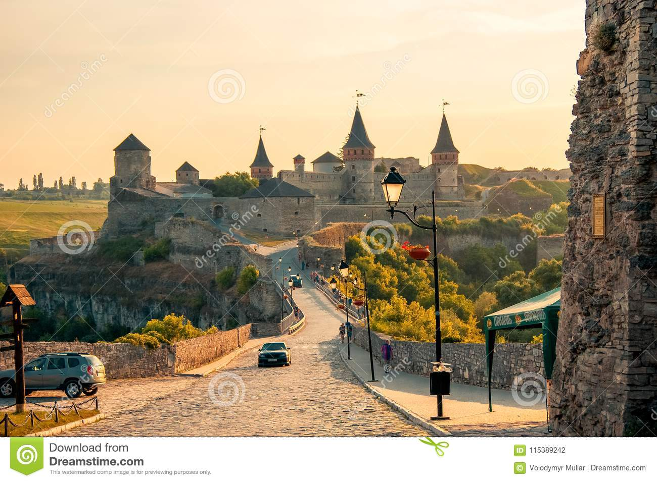 Kamyanets-Podilsky Ukraine. Summer 2015 View of the fortress in