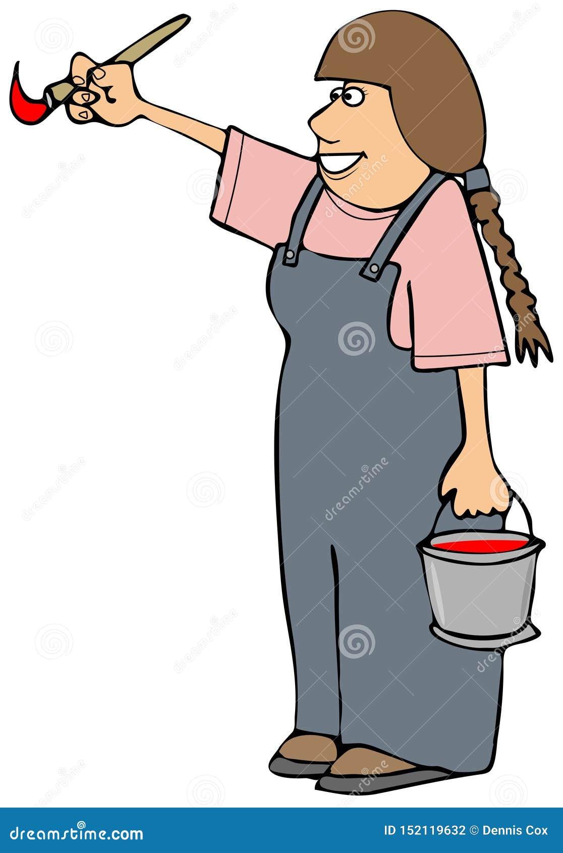 Kan bärande overaller för flickan som rymmer en målarfärg och borsten