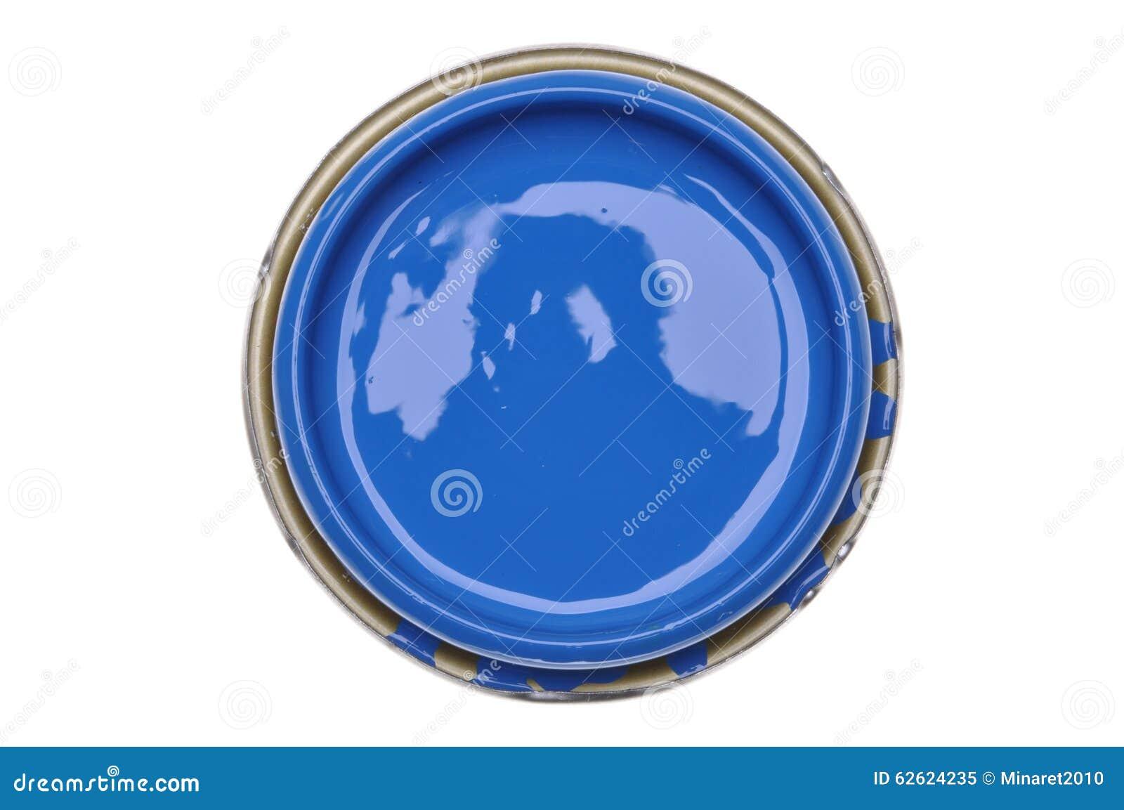 Kan deksel met blauwe die verf op witte achtergrond wordt geïsoleerd