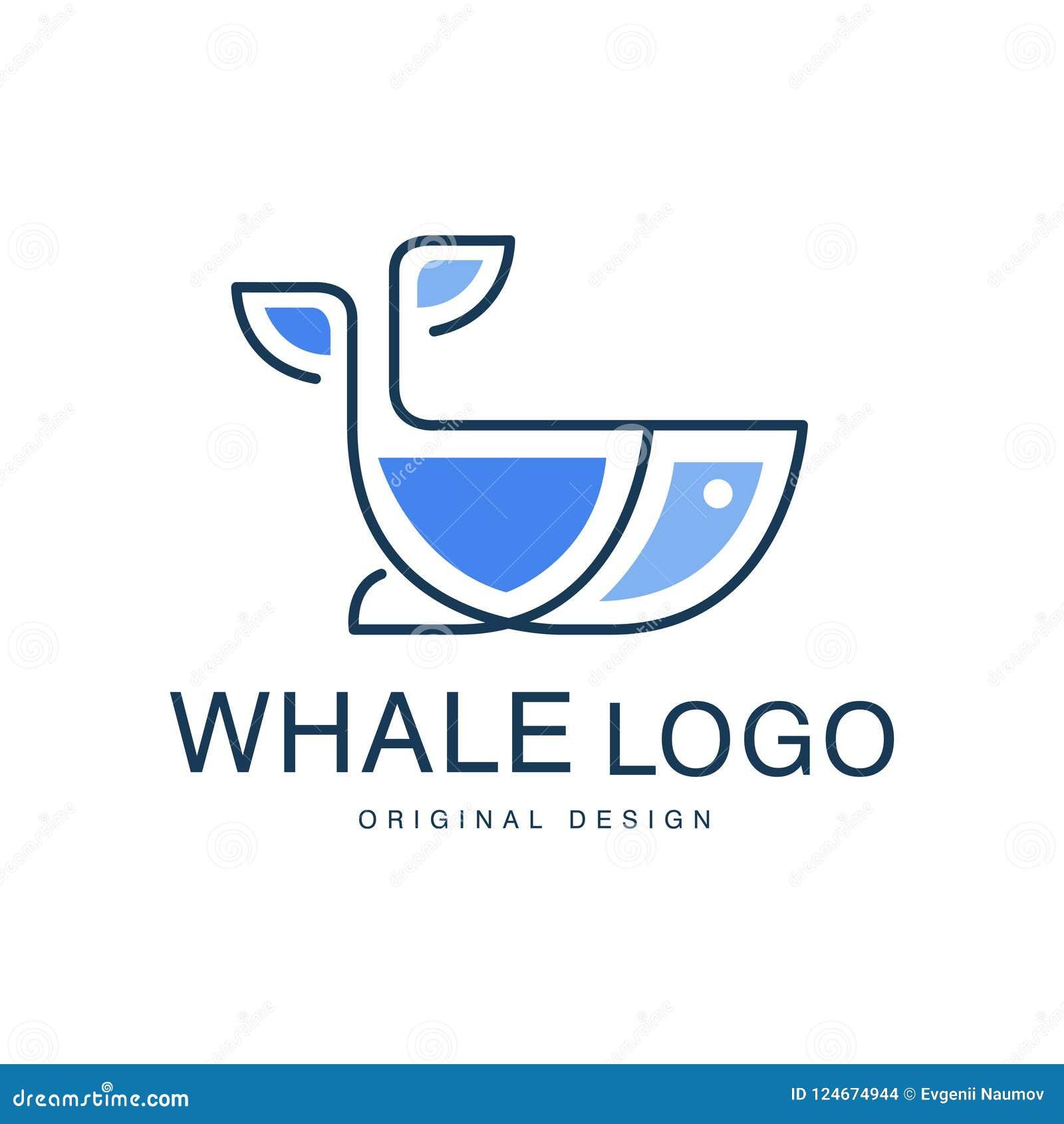 Kan het originele ontwerp van het walvisembleem, creatief embleem voor reisbureau worden gebruikt, scheepvaartmaatschappij, zeevr