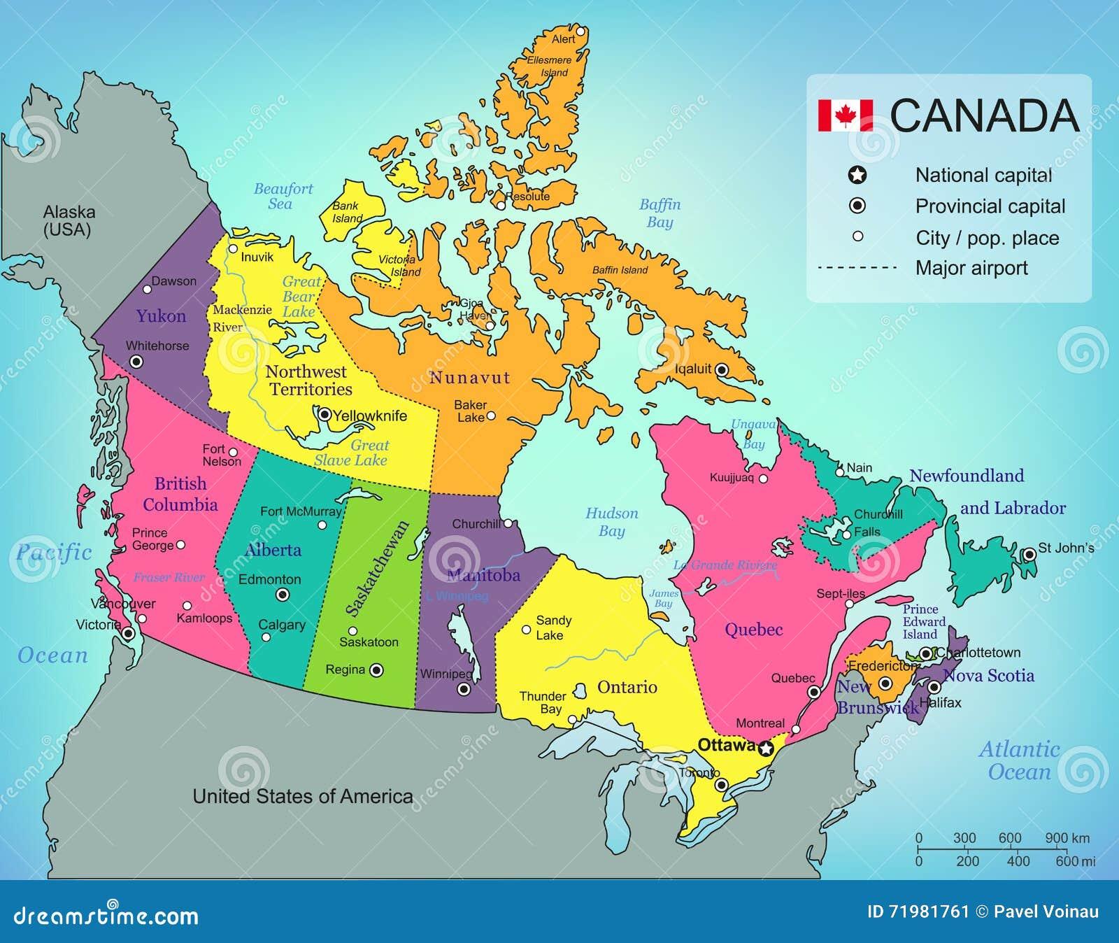 Kanada översikt med landskap Alla territorier är valbara vektor