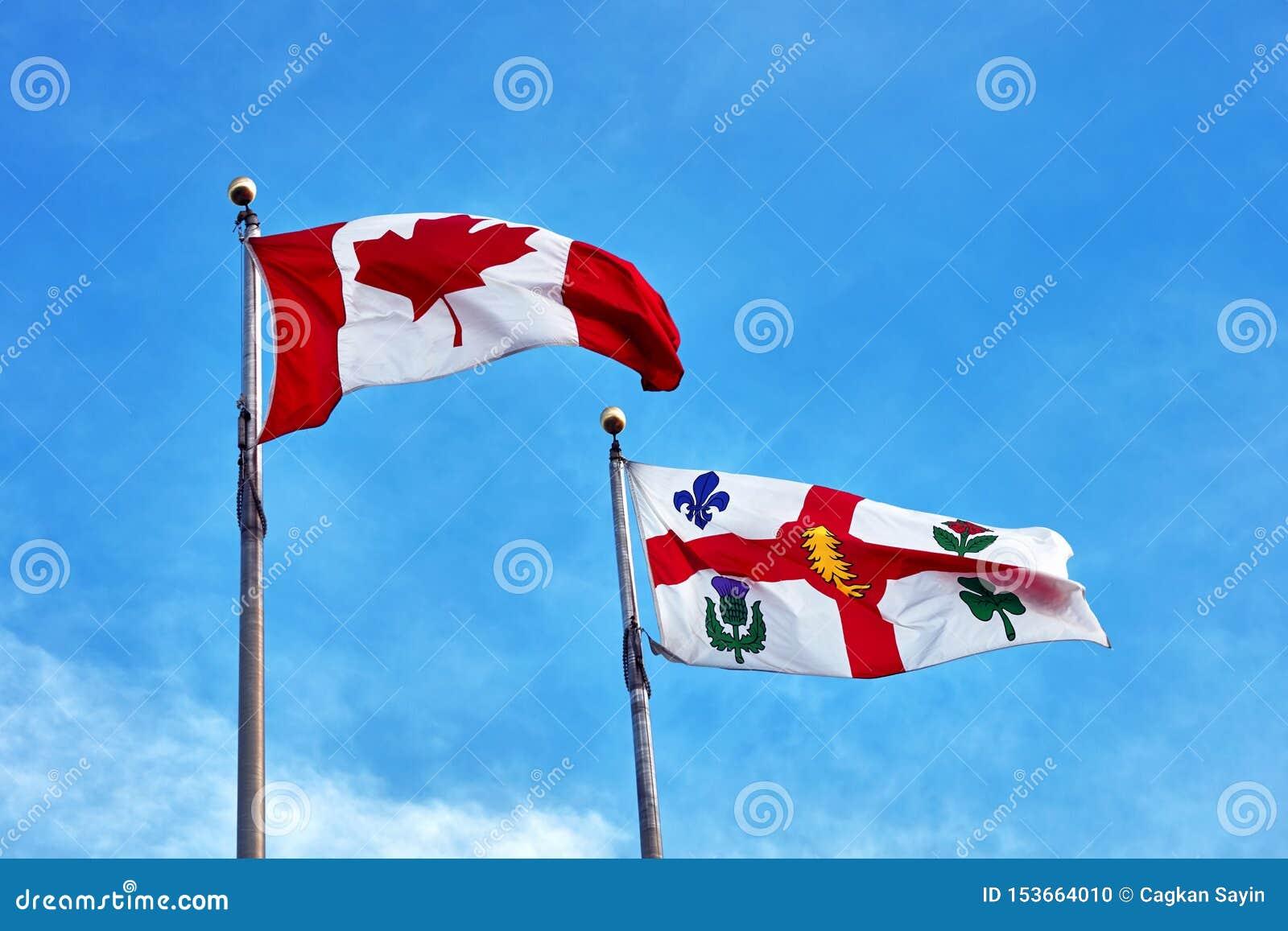 Kanada flaga i Montreal chorągwiany falowanie na jasnym niebieskiego nieba tle
