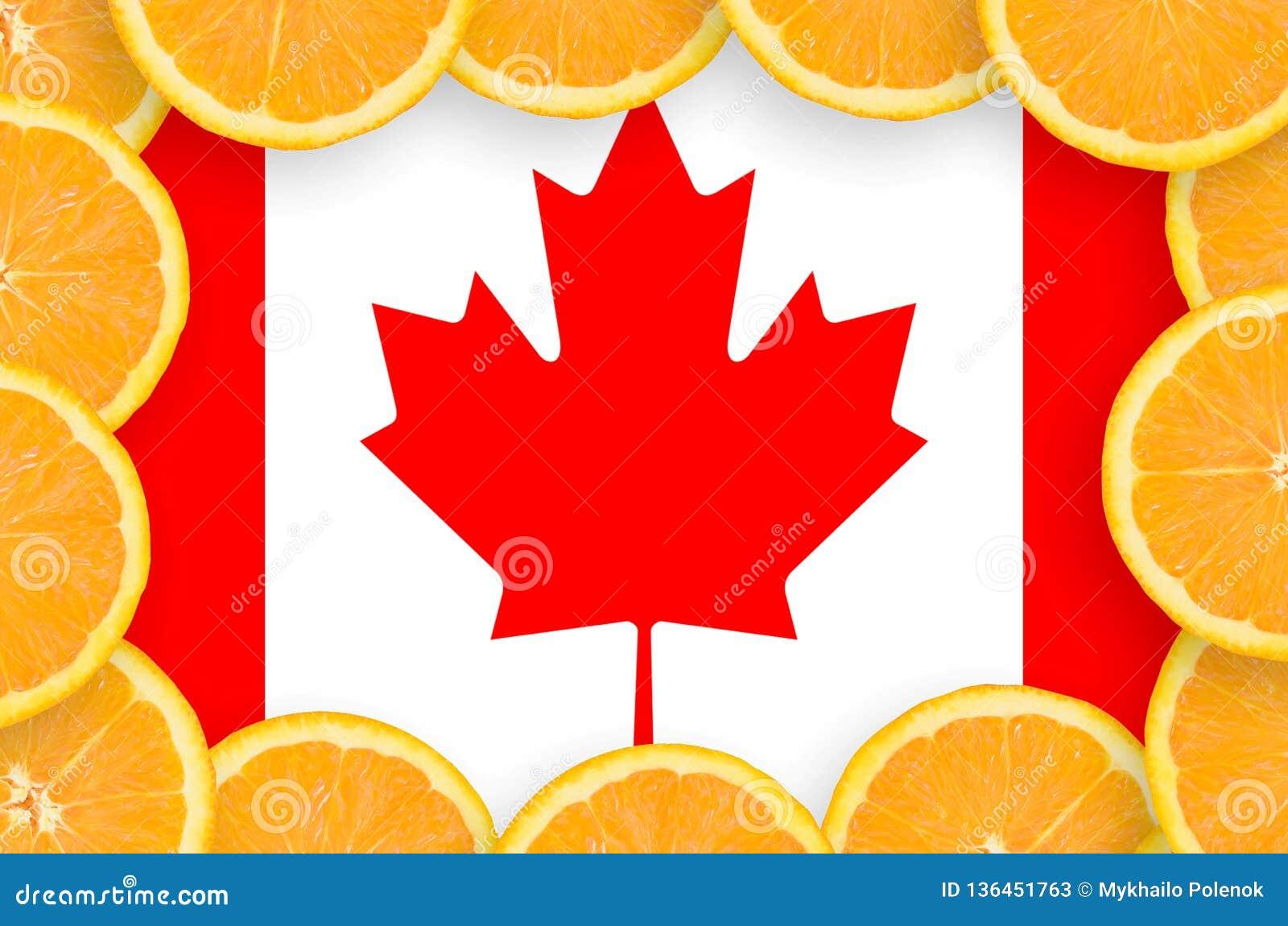 Kanada flagga i ny citrusfruktskivaram
