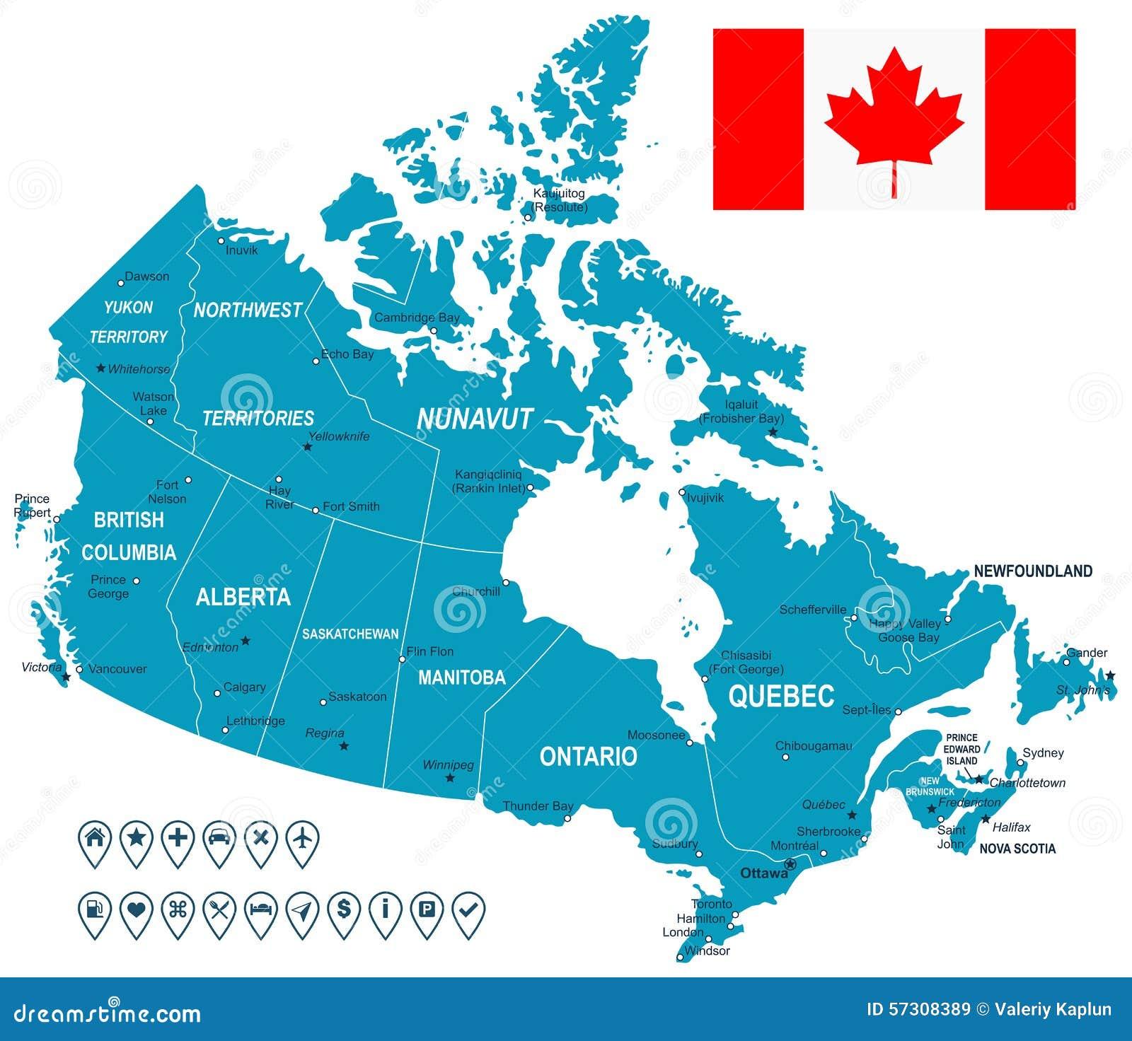 Kanada karte flagge und navigationsaufkleber illustration vektor