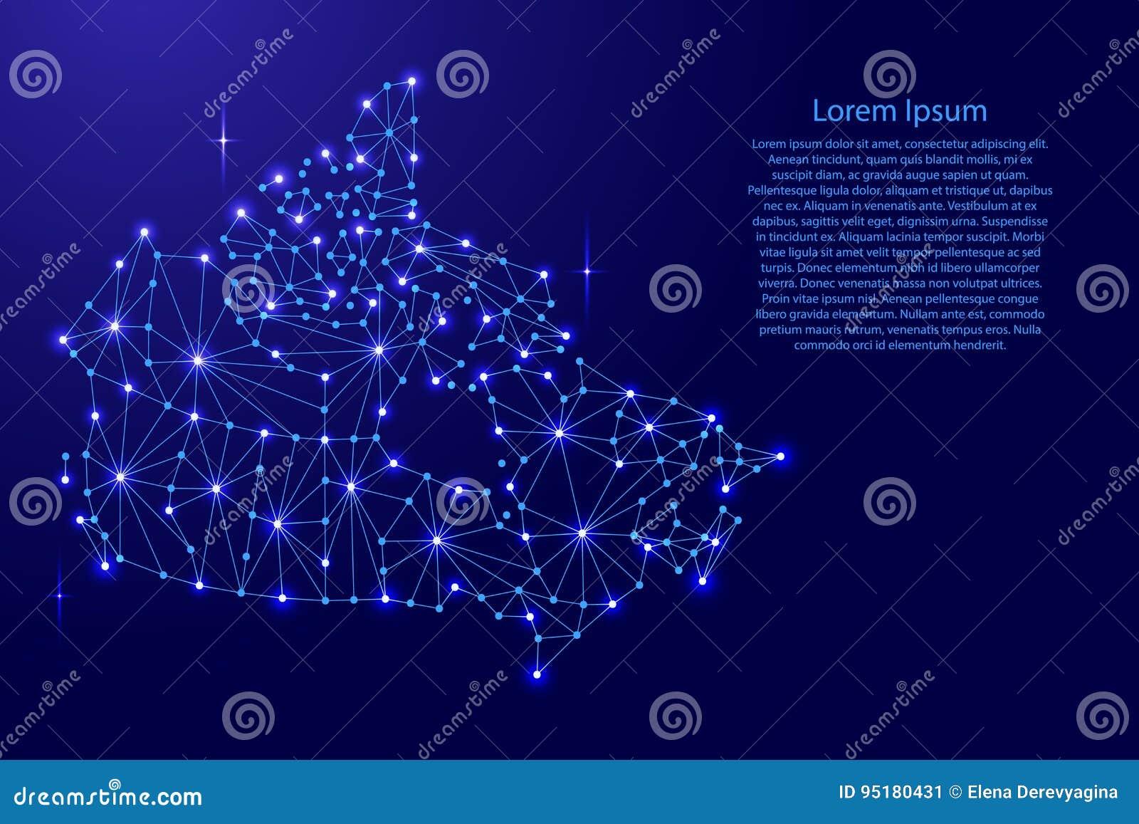 Kanada mapa poligonalna mozaika wykłada sieć, promienie, przestrzeni ilustracja gwiazdy