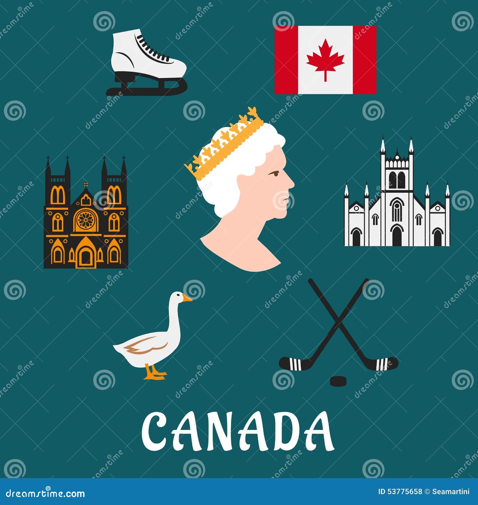 Kanada podróży płaskie ikony i symbole